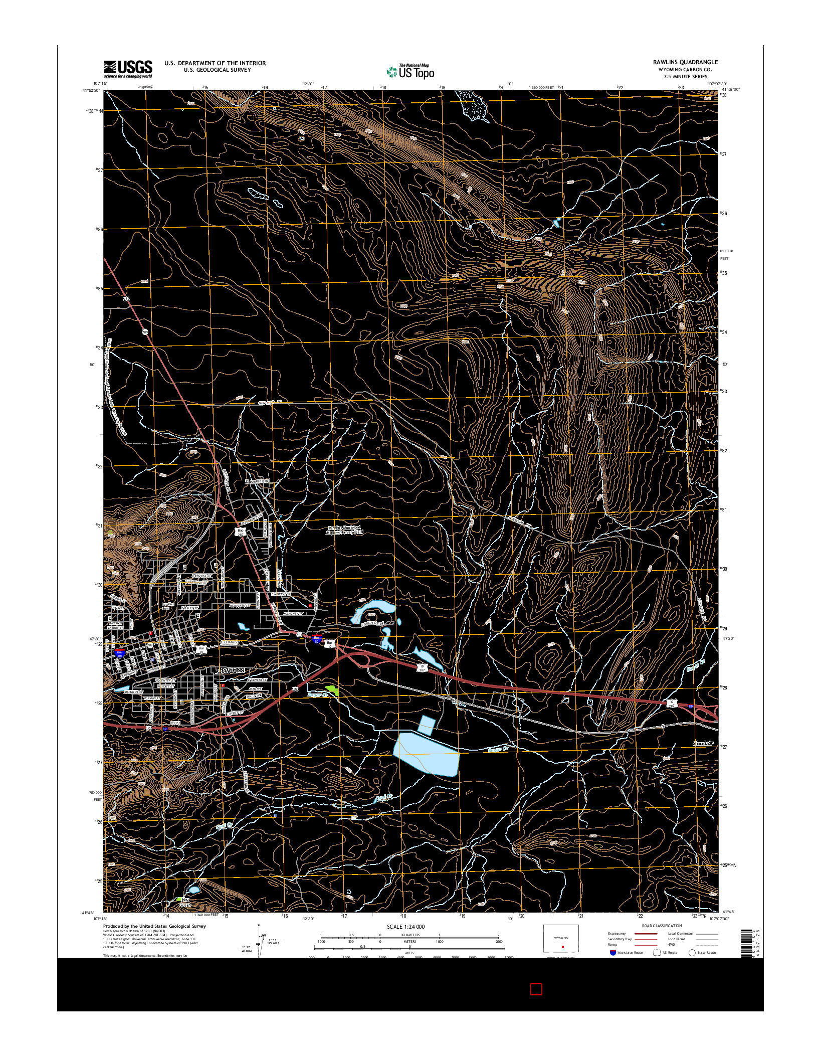 USGS US TOPO 7.5-MINUTE MAP FOR RAWLINS, WY 2015