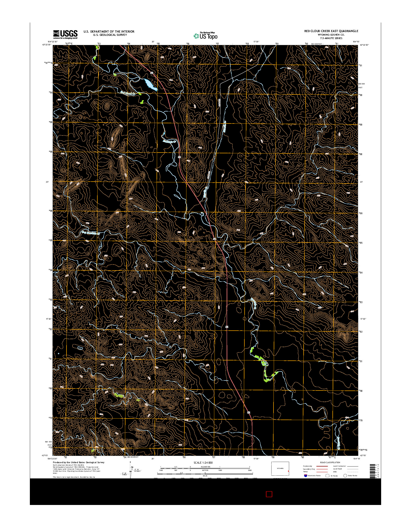 USGS US TOPO 7.5-MINUTE MAP FOR RED CLOUD CREEK EAST, WY 2015