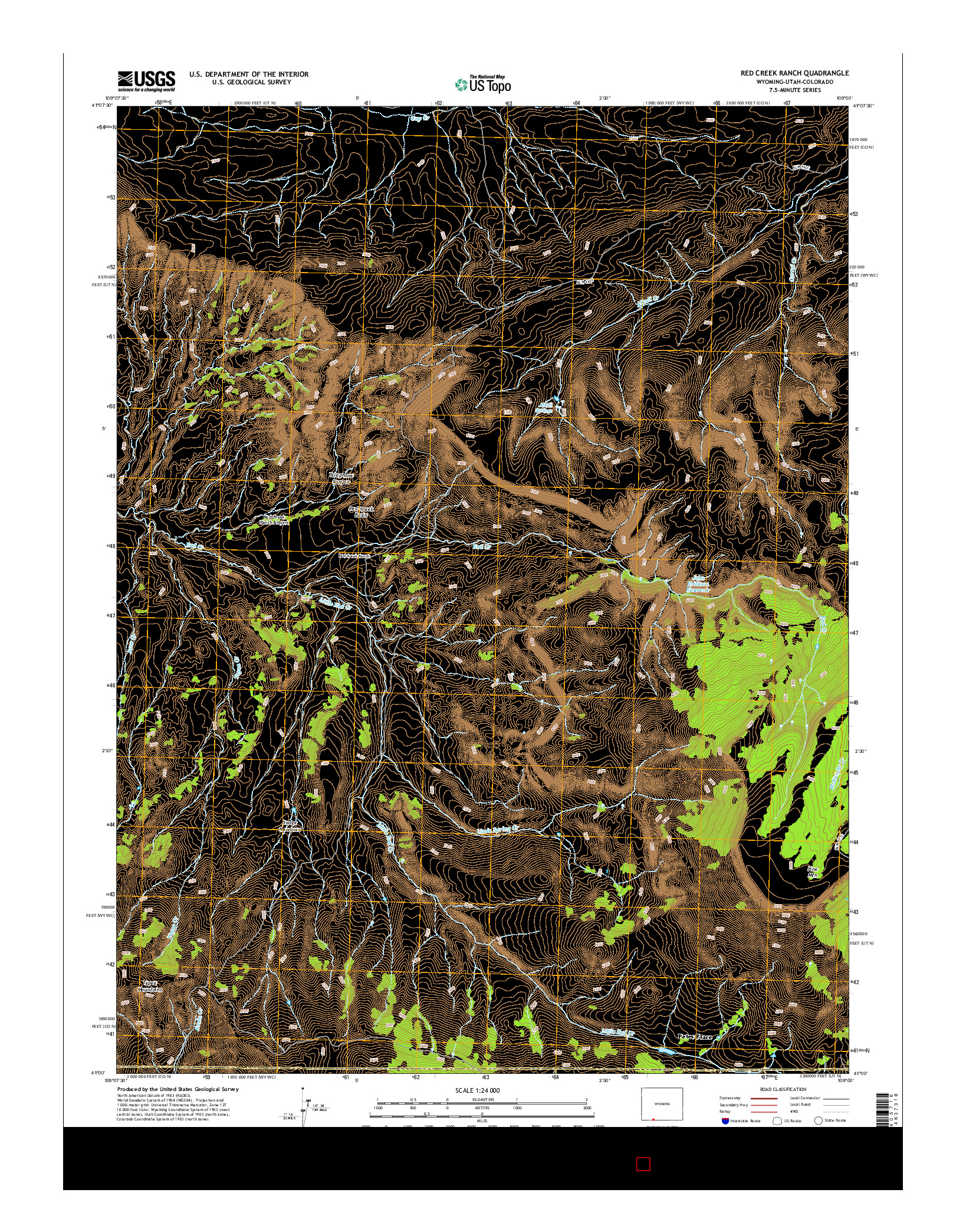 USGS US TOPO 7.5-MINUTE MAP FOR RED CREEK RANCH, WY-UT-CO 2015