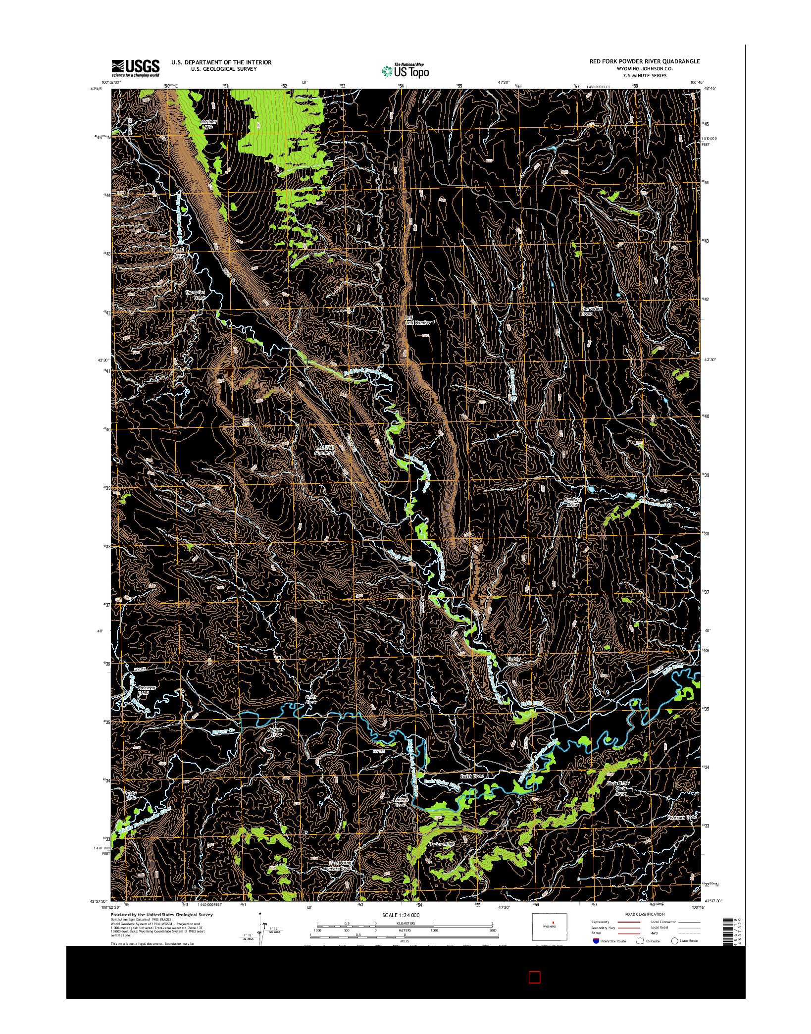 USGS US TOPO 7.5-MINUTE MAP FOR RED FORK POWDER RIVER, WY 2015