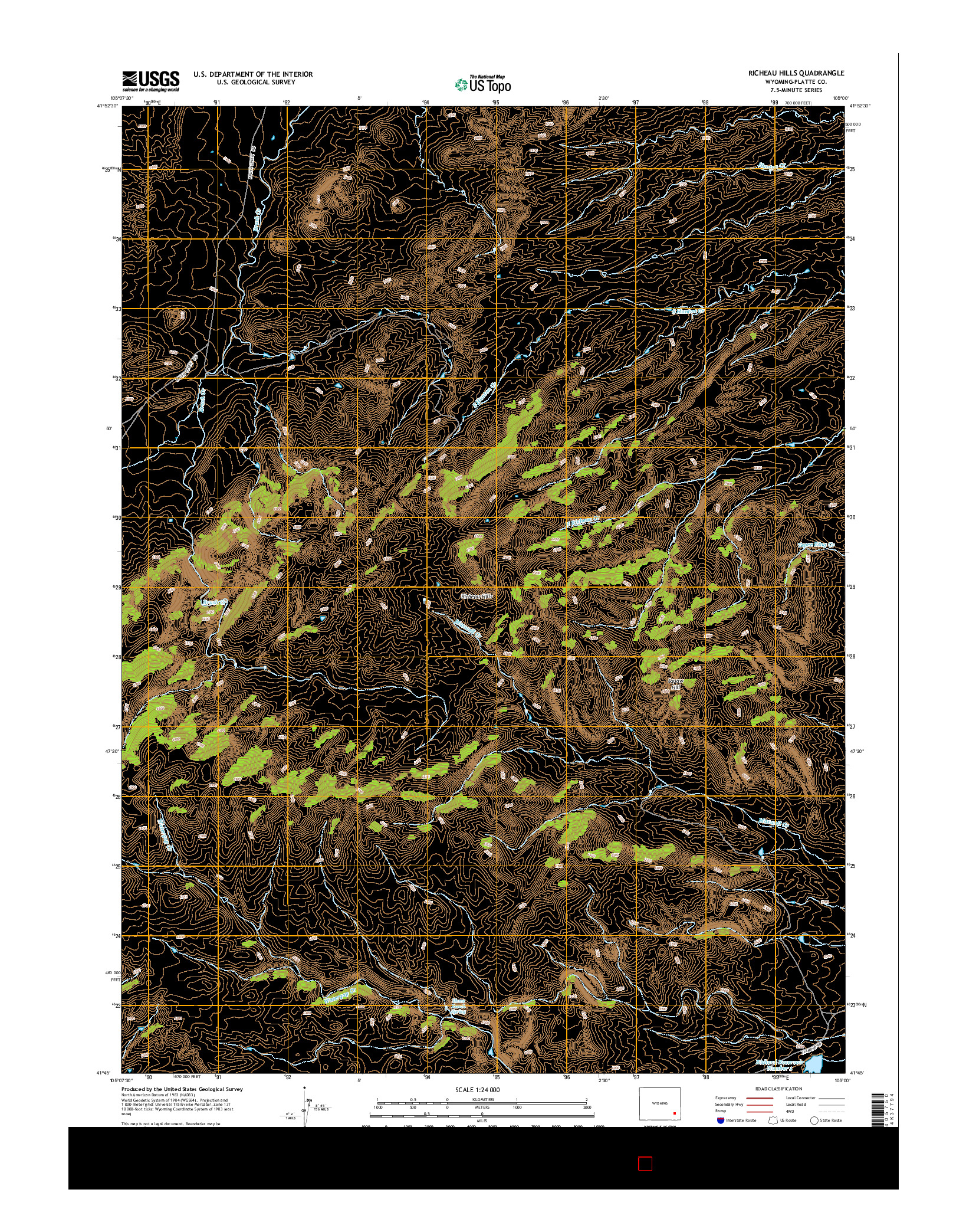 USGS US TOPO 7.5-MINUTE MAP FOR RICHEAU HILLS, WY 2015