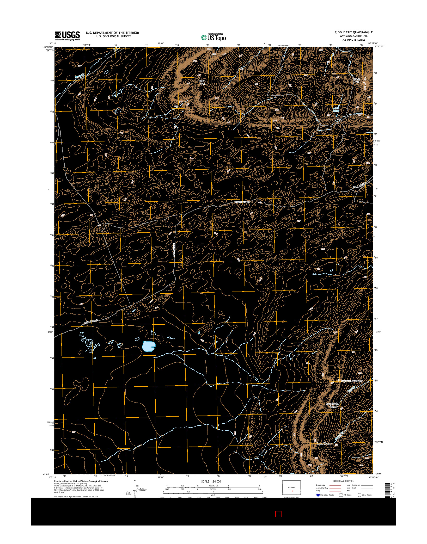 USGS US TOPO 7.5-MINUTE MAP FOR RIDDLE CUT, WY 2015