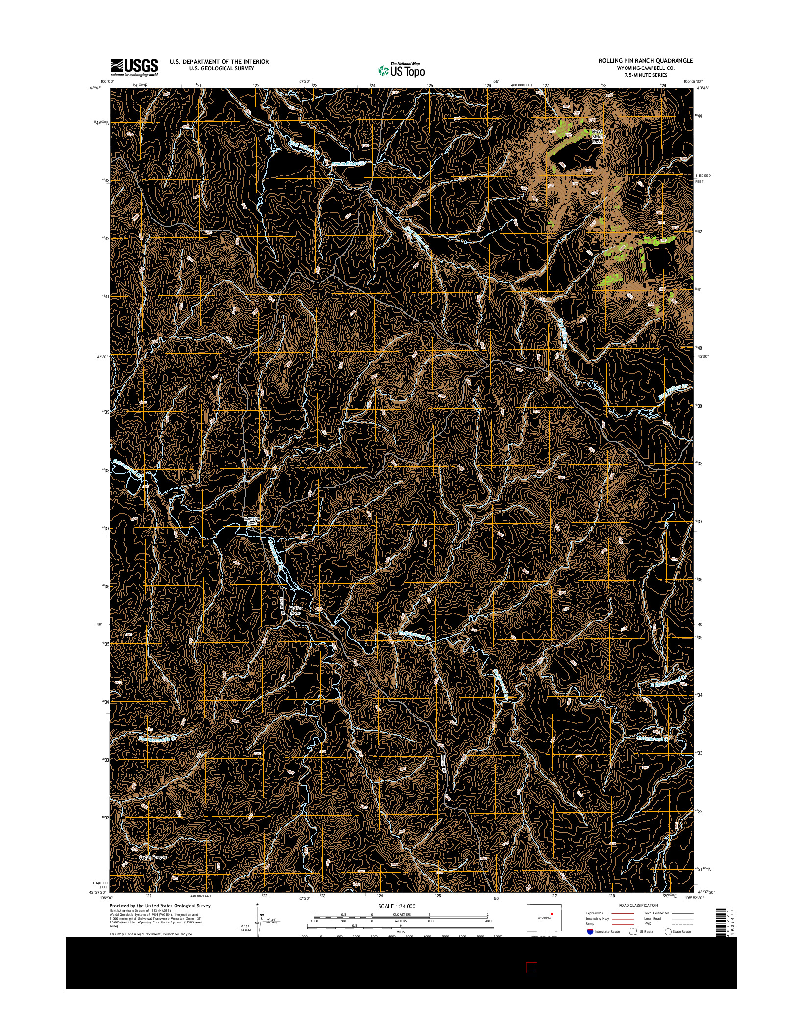 USGS US TOPO 7.5-MINUTE MAP FOR ROLLING PIN RANCH, WY 2015