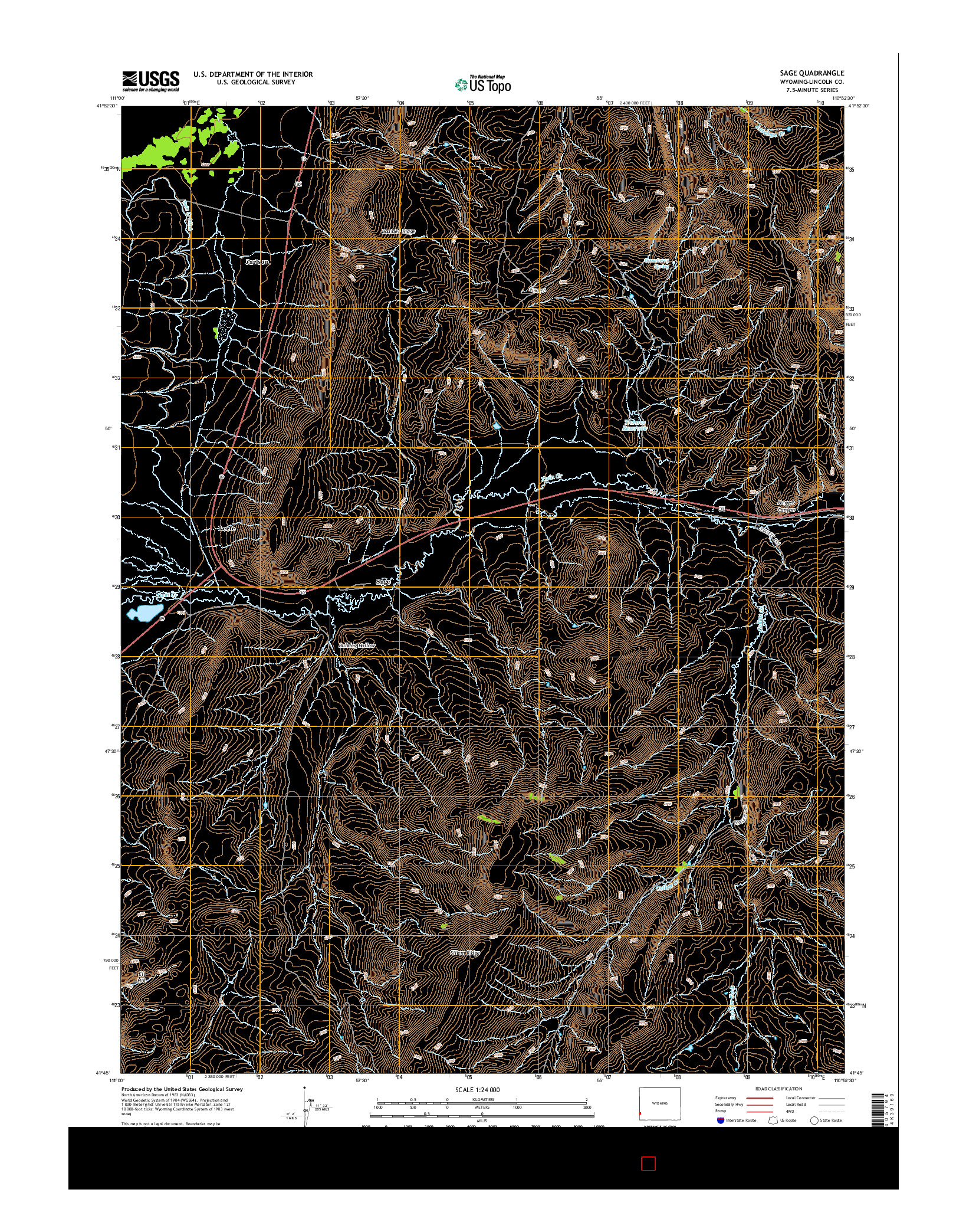 USGS US TOPO 7.5-MINUTE MAP FOR SAGE, WY 2015