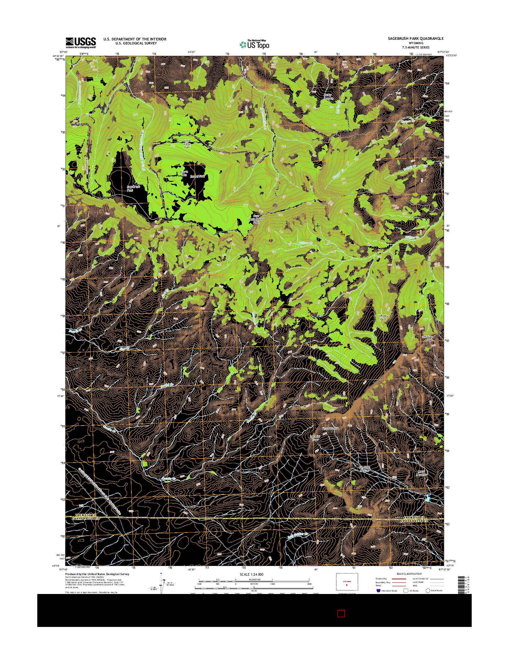 USGS US TOPO 7.5-MINUTE MAP FOR SAGEBRUSH PARK, WY 2015