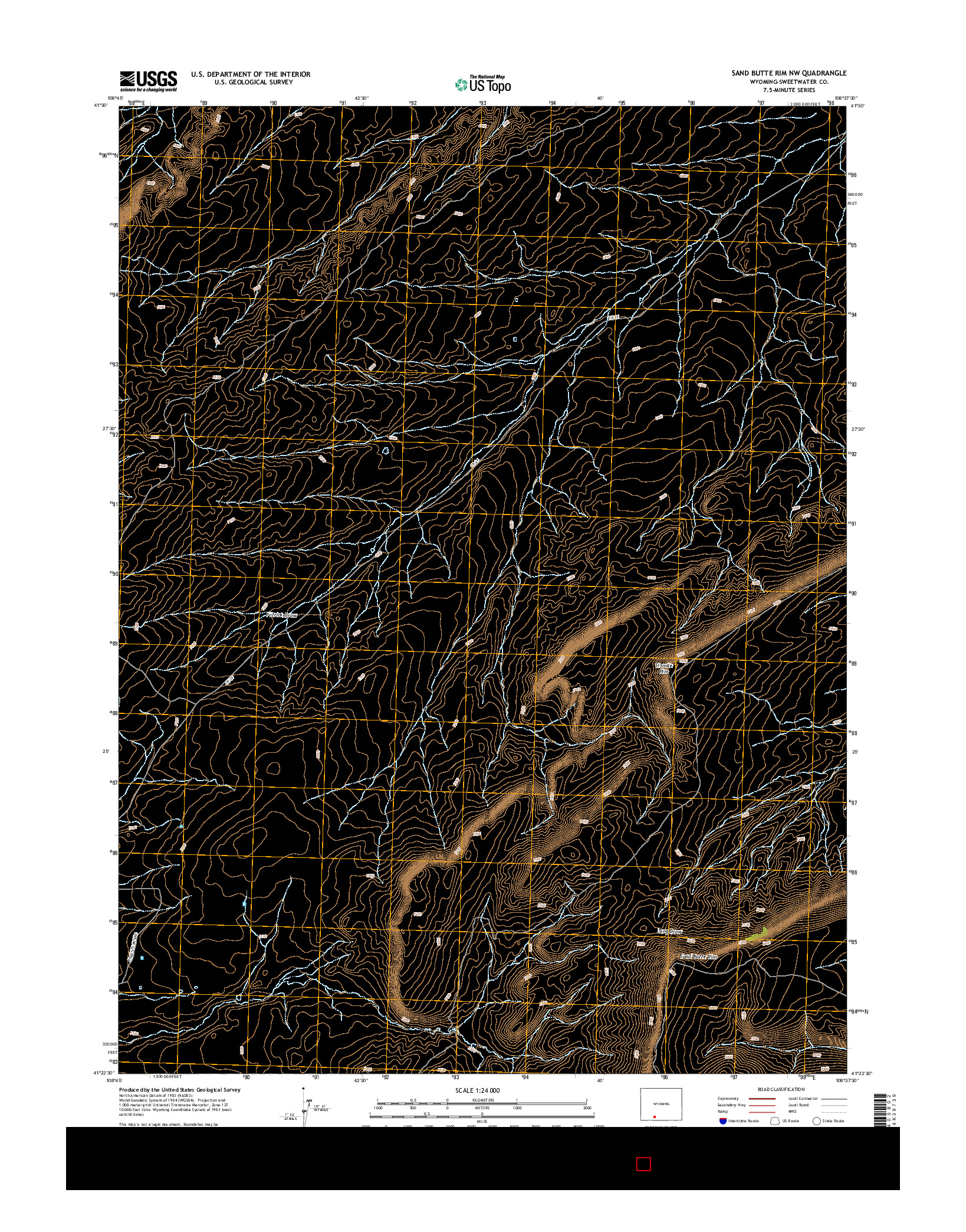 USGS US TOPO 7.5-MINUTE MAP FOR SAND BUTTE RIM NW, WY 2015