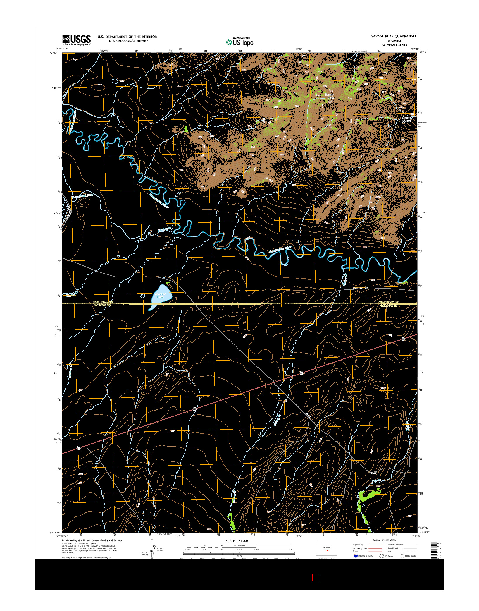 USGS US TOPO 7.5-MINUTE MAP FOR SAVAGE PEAK, WY 2015