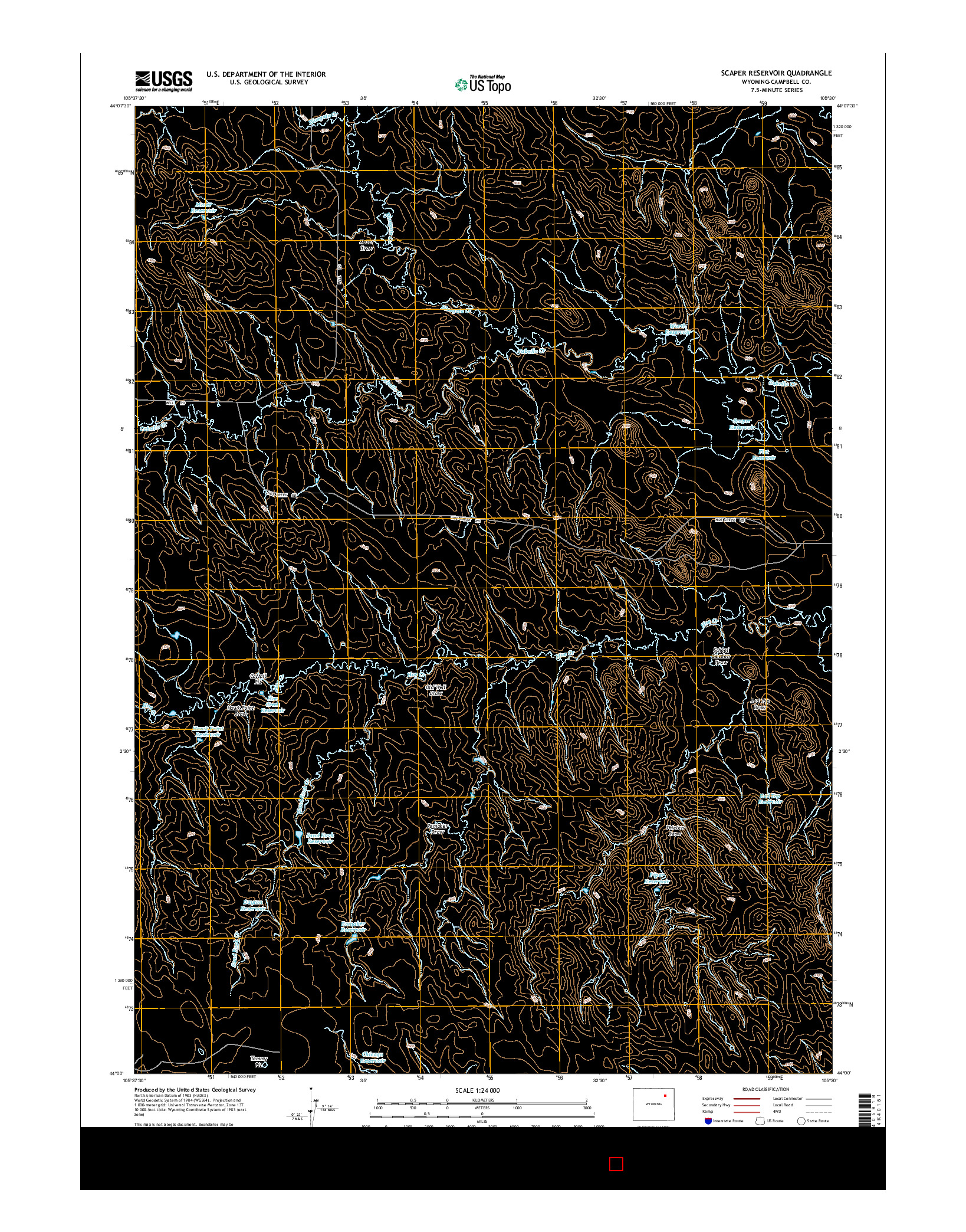 USGS US TOPO 7.5-MINUTE MAP FOR SCAPER RESERVOIR, WY 2015