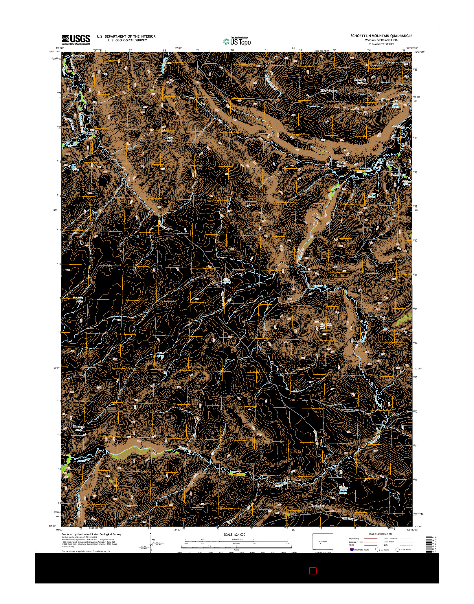 USGS US TOPO 7.5-MINUTE MAP FOR SCHOETTLIN MOUNTAIN, WY 2015