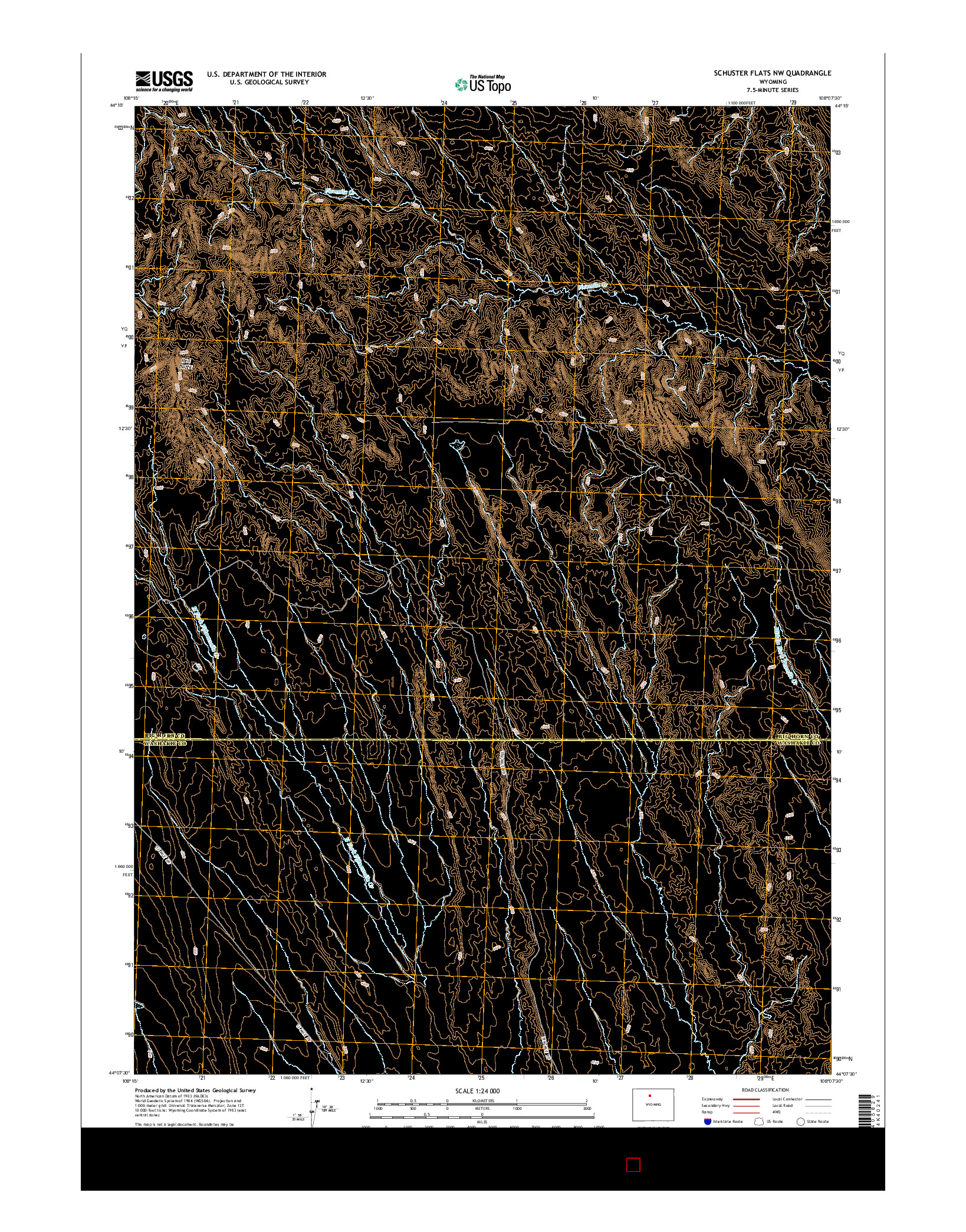 USGS US TOPO 7.5-MINUTE MAP FOR SCHUSTER FLATS NW, WY 2015