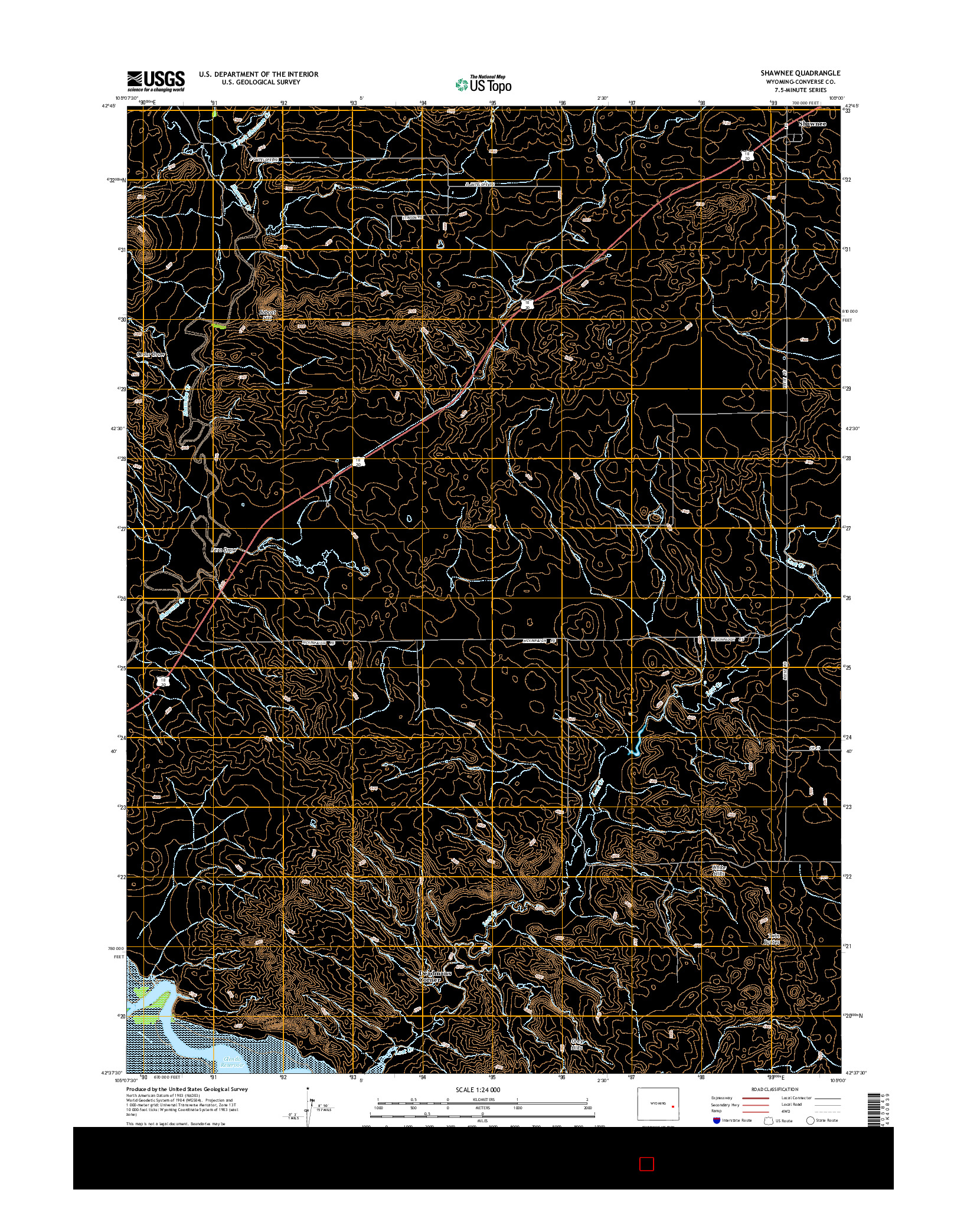 USGS US TOPO 7.5-MINUTE MAP FOR SHAWNEE, WY 2015