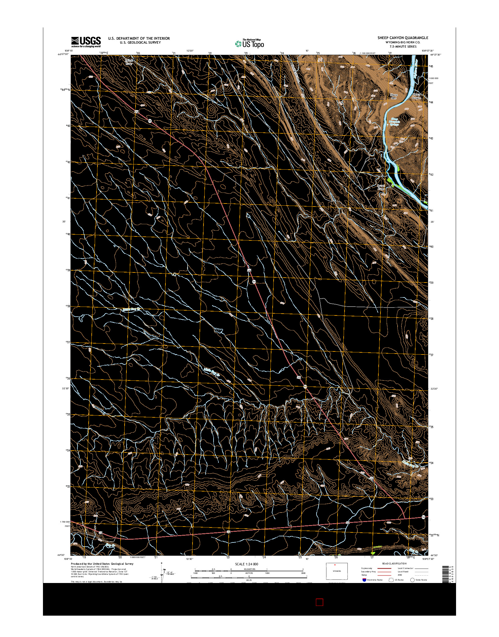 USGS US TOPO 7.5-MINUTE MAP FOR SHEEP CANYON, WY 2015