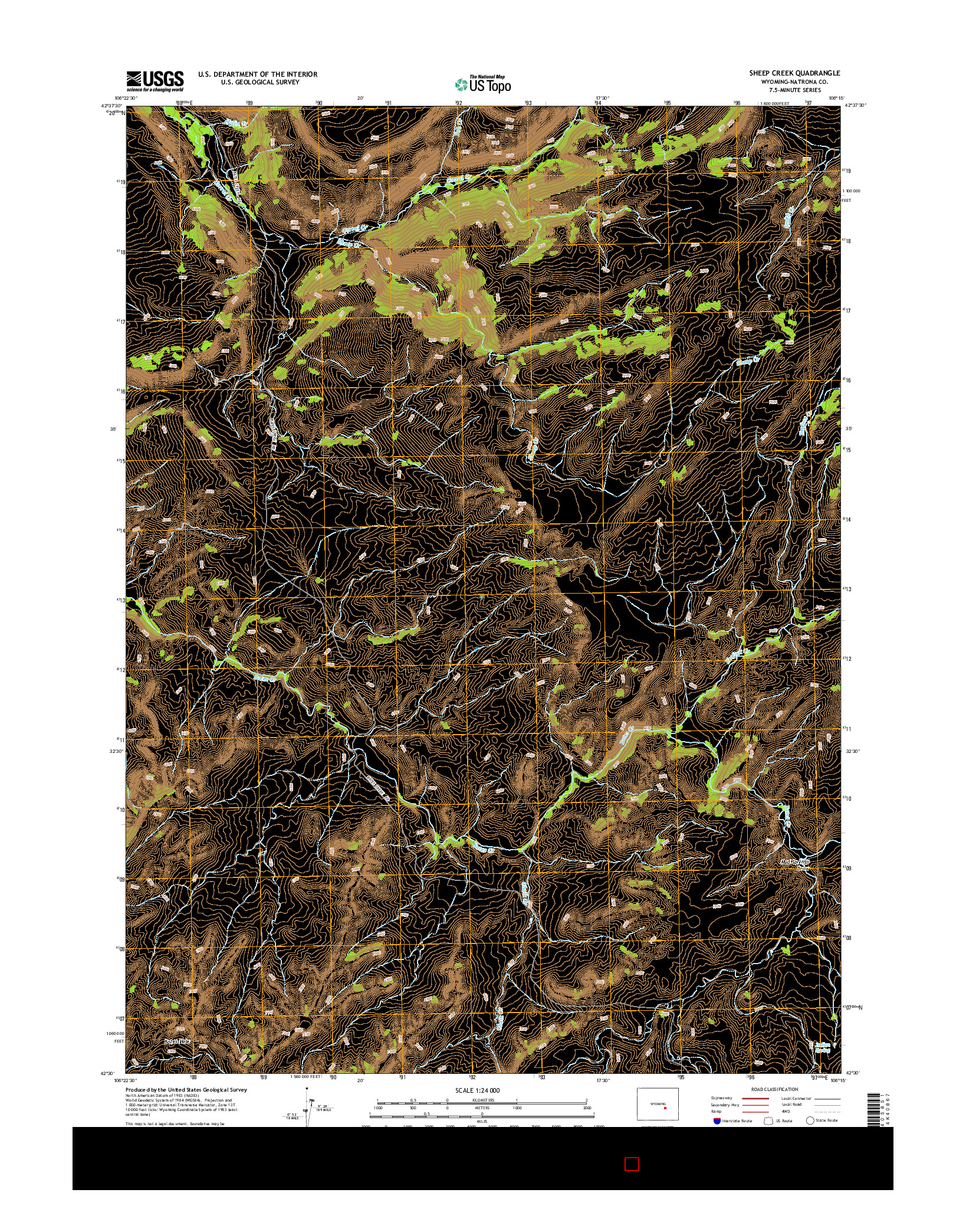 USGS US TOPO 7.5-MINUTE MAP FOR SHEEP CREEK, WY 2015