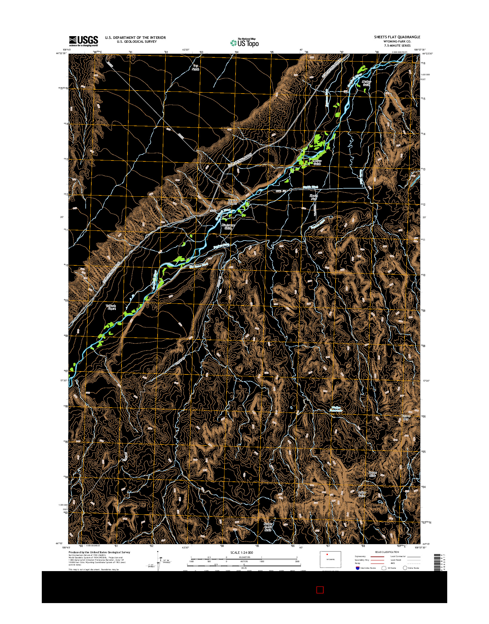 USGS US TOPO 7.5-MINUTE MAP FOR SHEETS FLAT, WY 2015