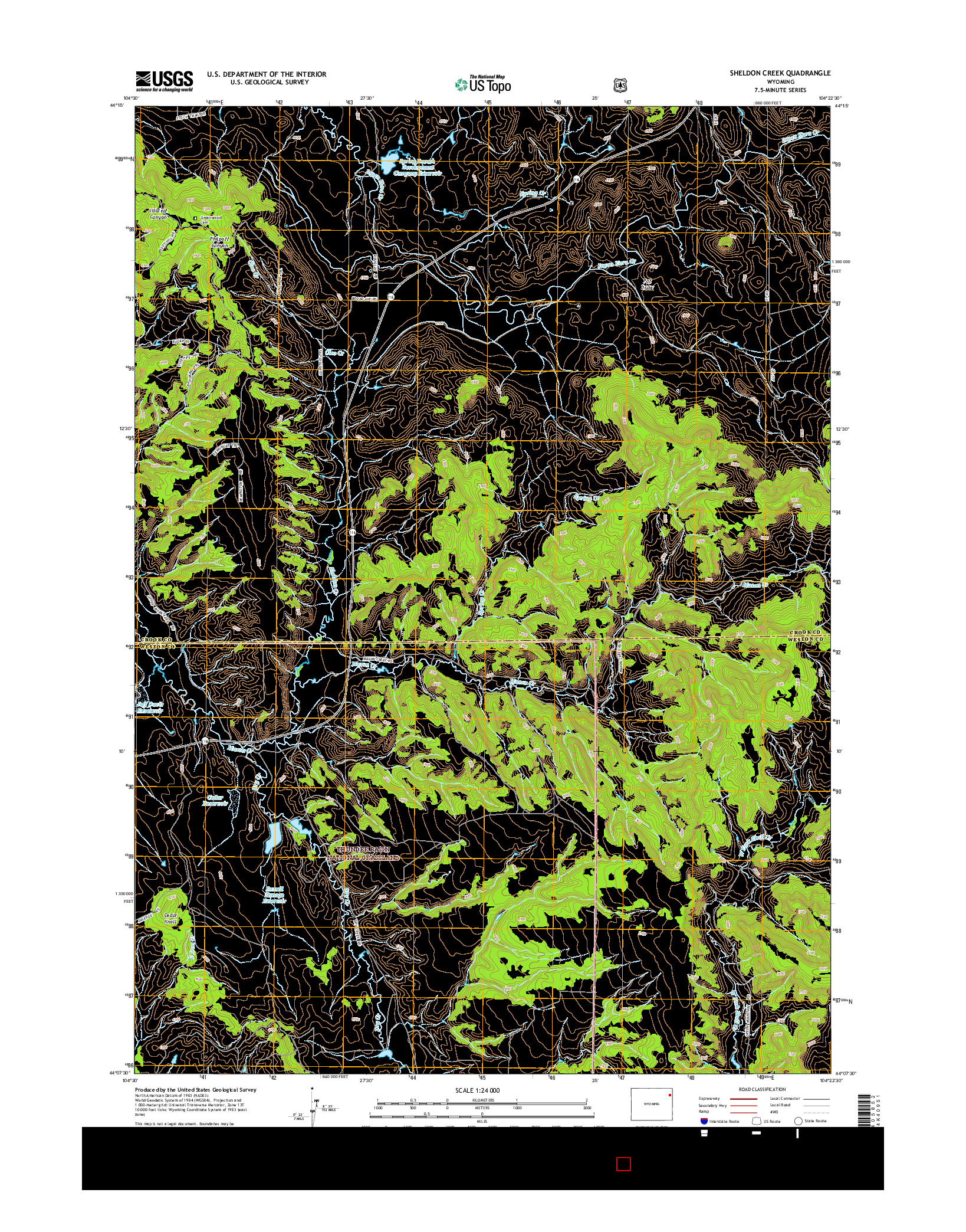 USGS US TOPO 7.5-MINUTE MAP FOR SHELDON CREEK, WY 2015