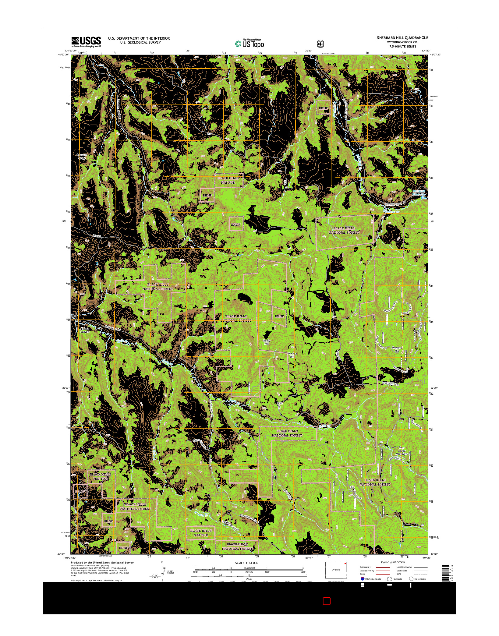 USGS US TOPO 7.5-MINUTE MAP FOR SHERRARD HILL, WY 2015