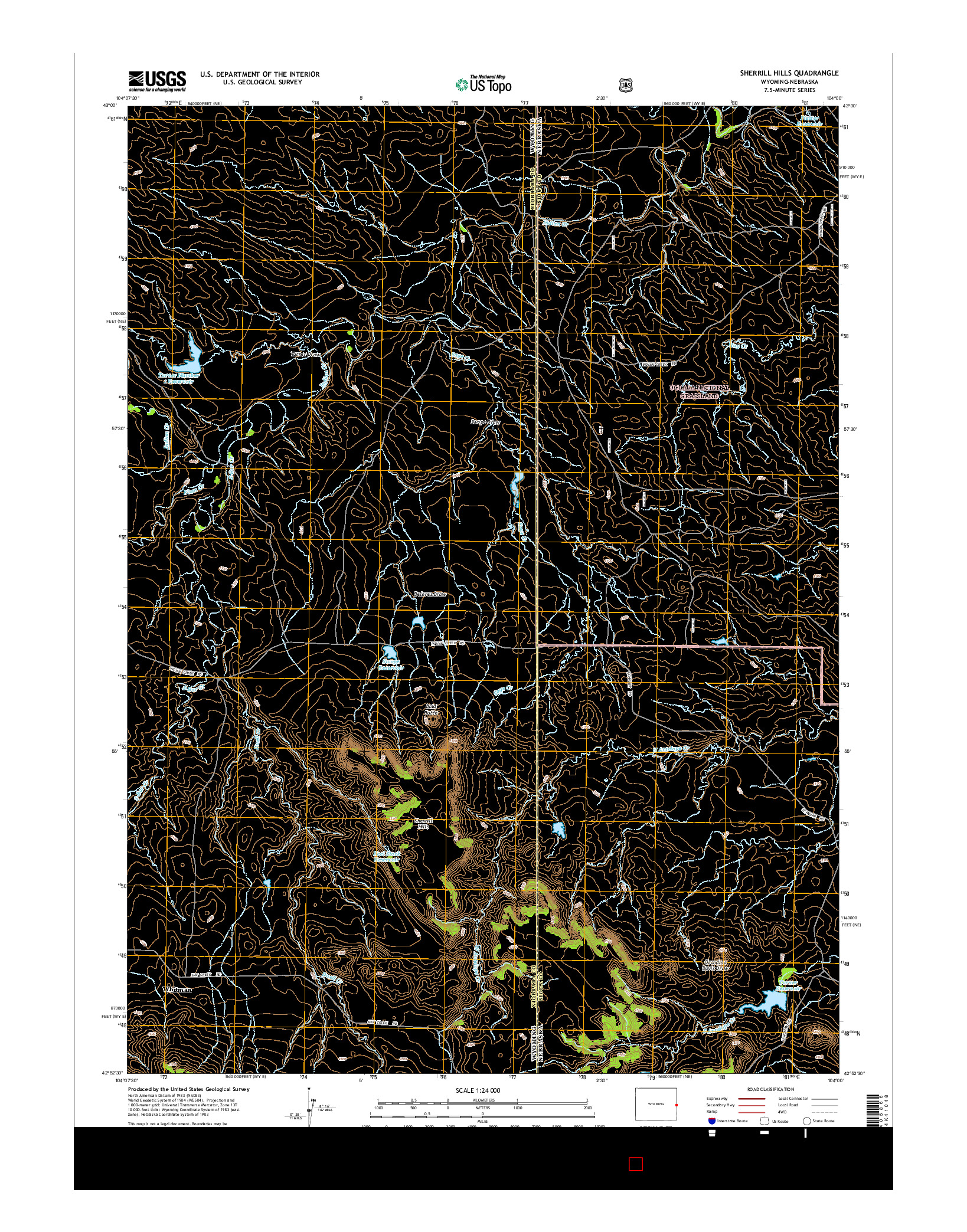 USGS US TOPO 7.5-MINUTE MAP FOR SHERRILL HILLS, WY-NE 2015