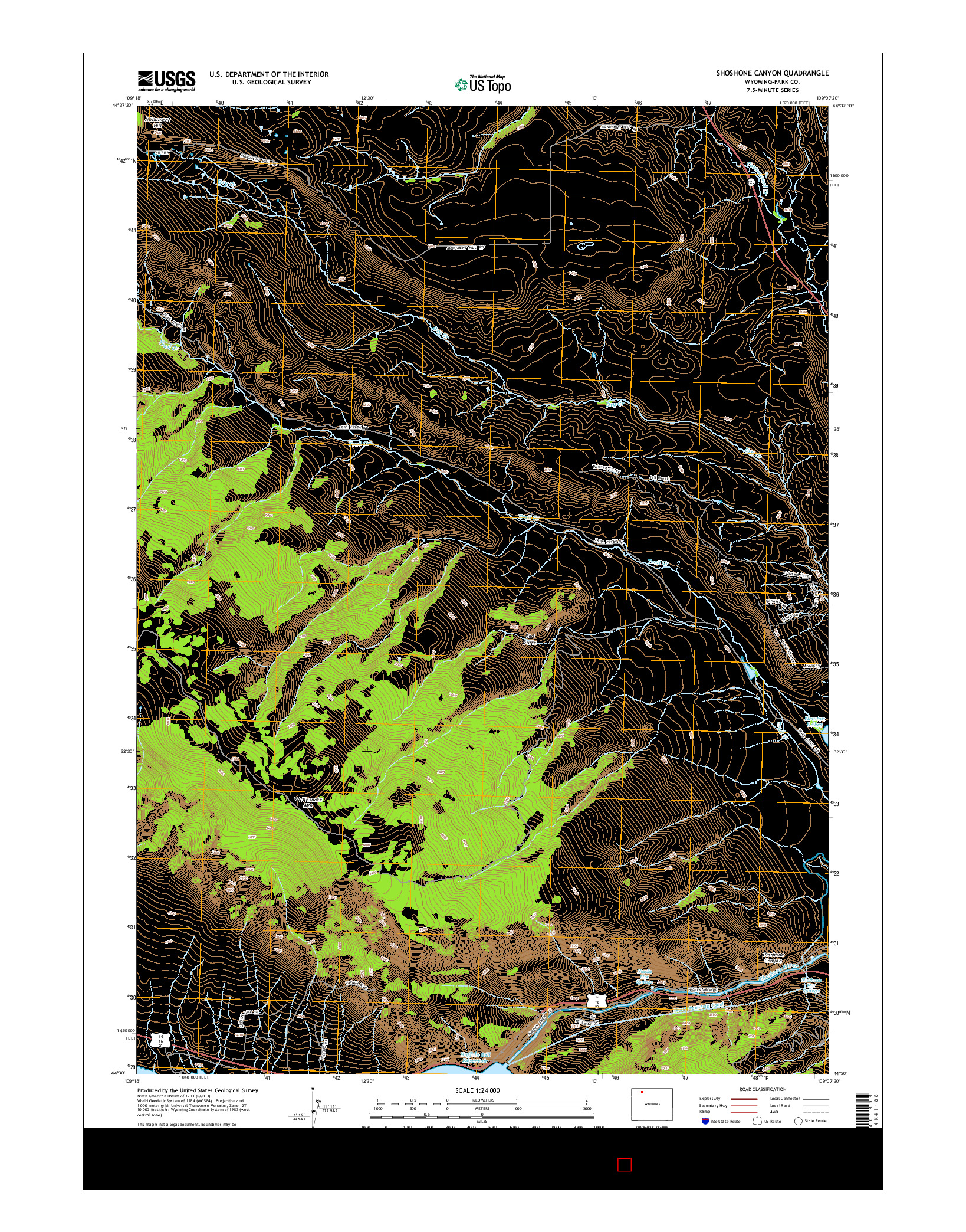 USGS US TOPO 7.5-MINUTE MAP FOR SHOSHONE CANYON, WY 2015