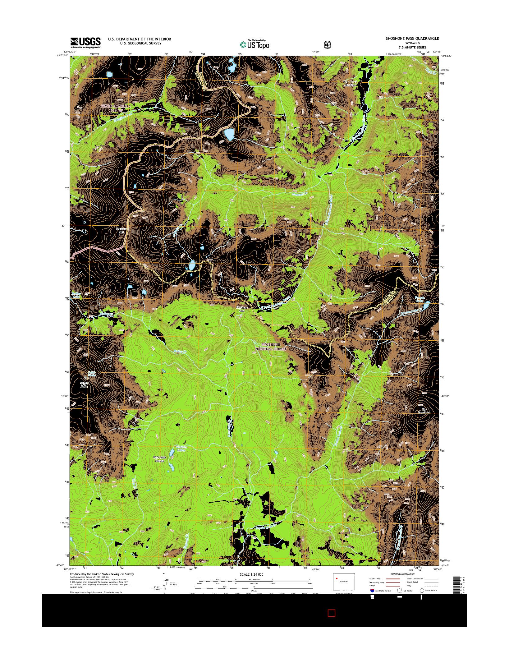 USGS US TOPO 7.5-MINUTE MAP FOR SHOSHONE PASS, WY 2015