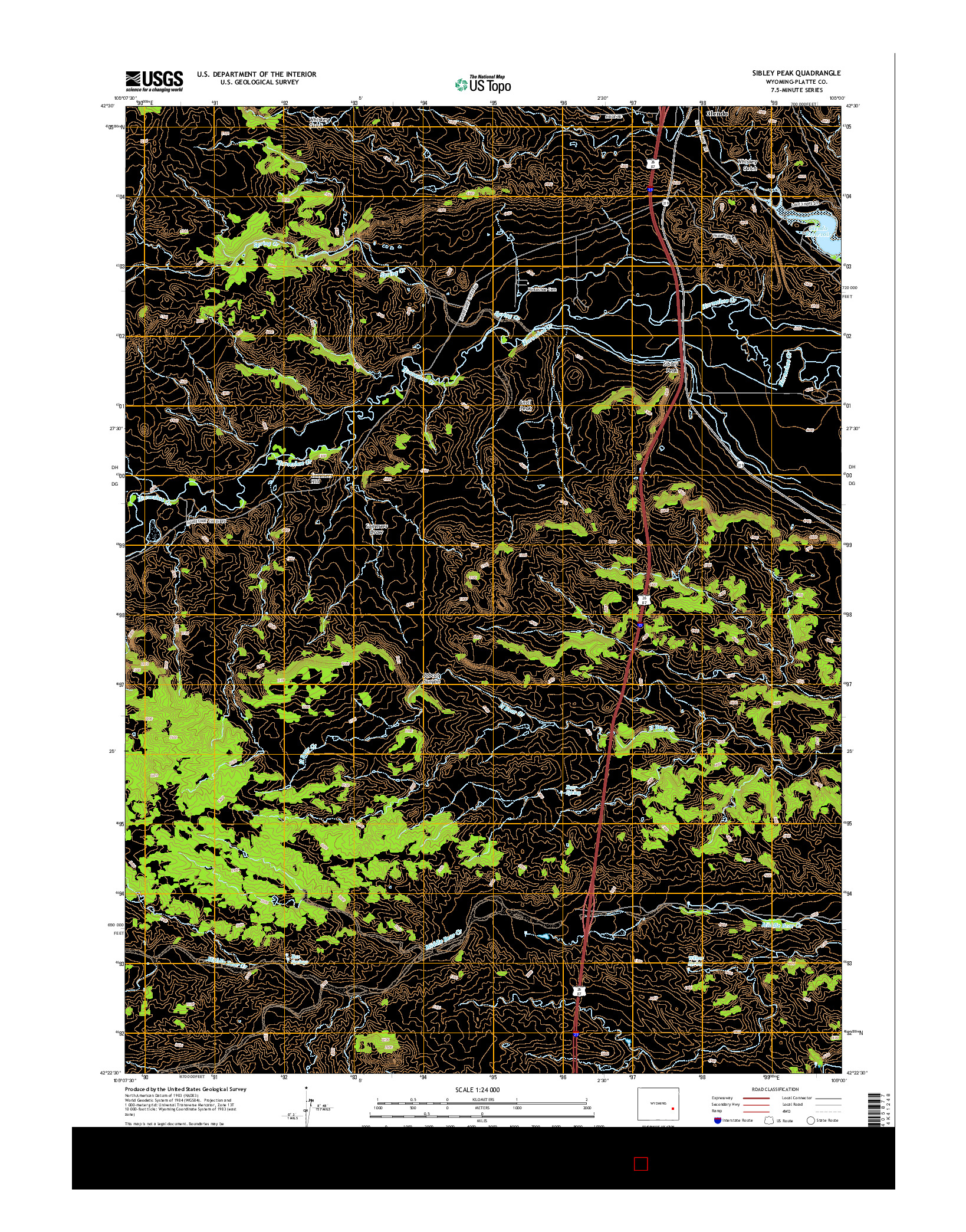 USGS US TOPO 7.5-MINUTE MAP FOR SIBLEY PEAK, WY 2015