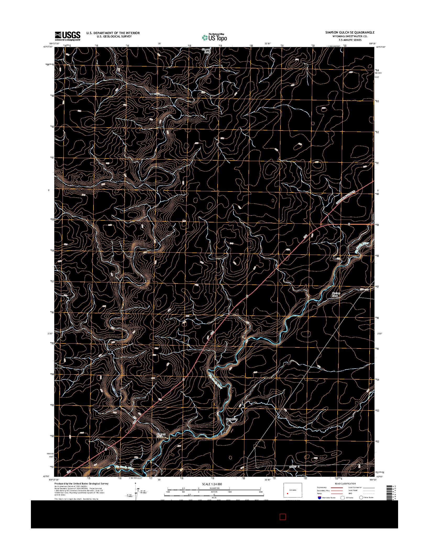 USGS US TOPO 7.5-MINUTE MAP FOR SIMPSON GULCH SE, WY 2015
