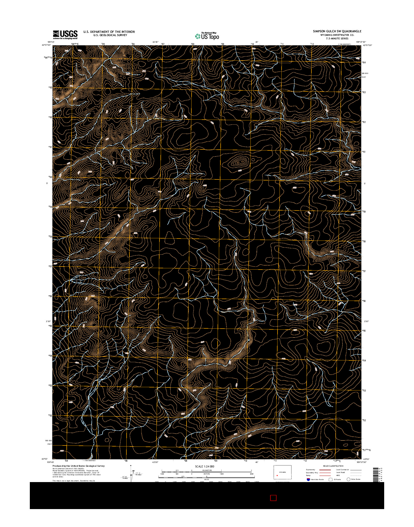 USGS US TOPO 7.5-MINUTE MAP FOR SIMPSON GULCH SW, WY 2015