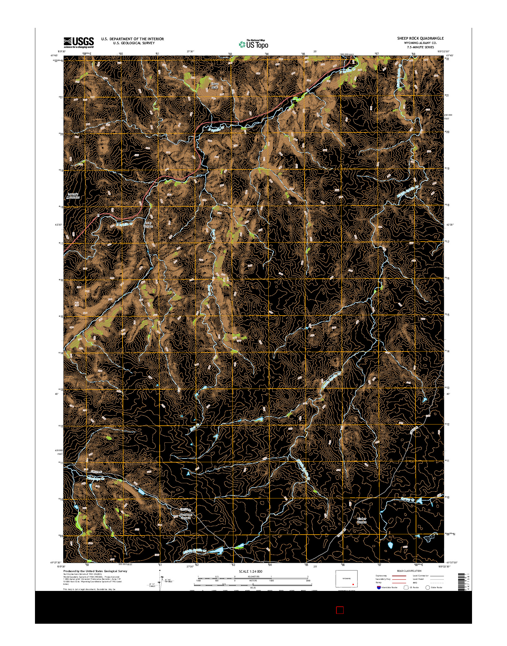 USGS US TOPO 7.5-MINUTE MAP FOR SHEEP ROCK, WY 2015
