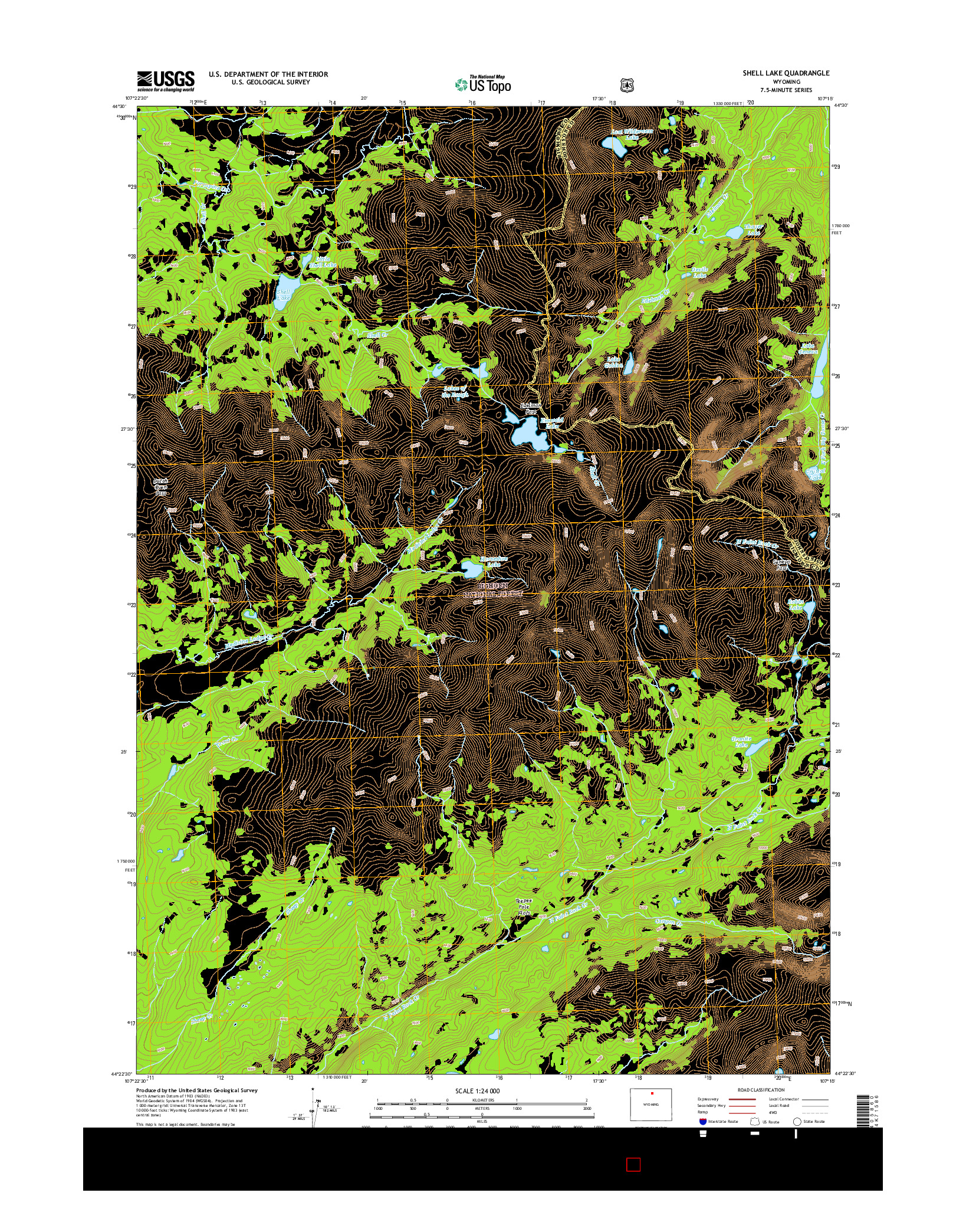USGS US TOPO 7.5-MINUTE MAP FOR SHELL LAKE, WY 2015