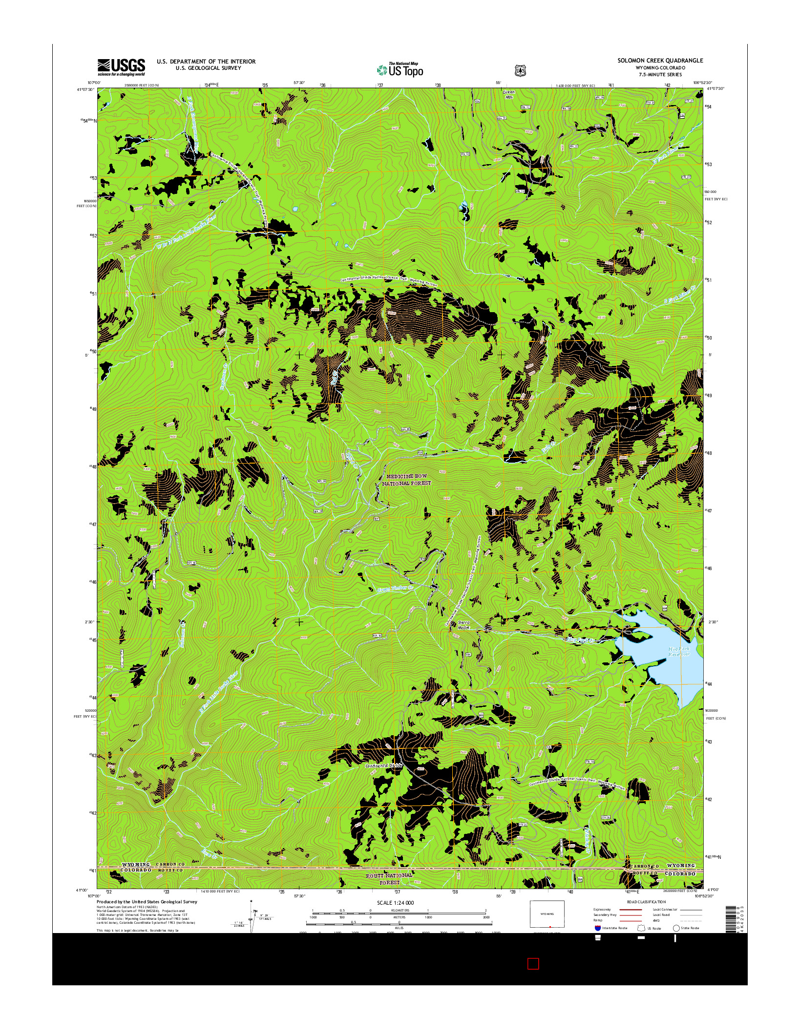 USGS US TOPO 7.5-MINUTE MAP FOR SOLOMON CREEK, WY-CO 2015