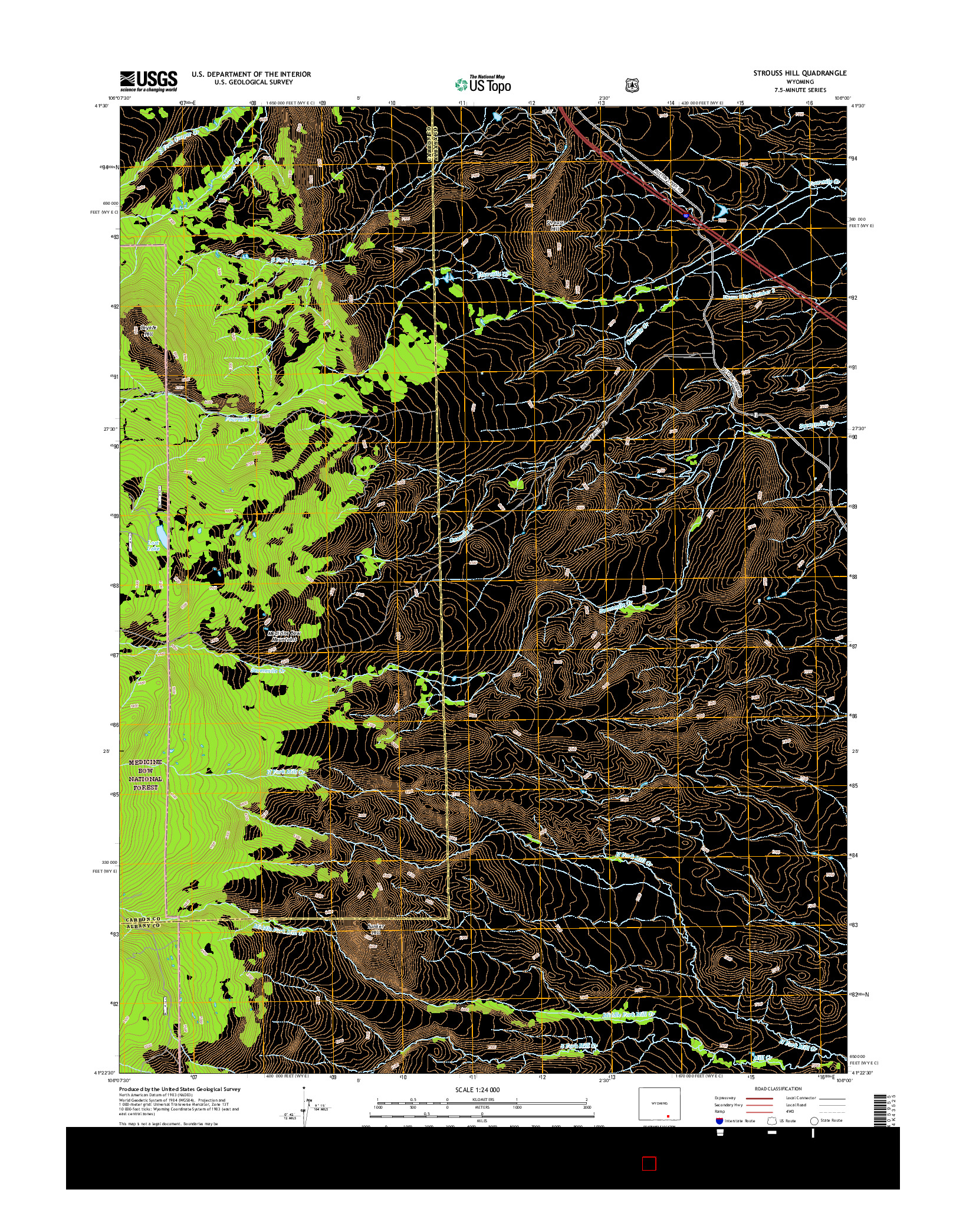 USGS US TOPO 7.5-MINUTE MAP FOR STROUSS HILL, WY 2015