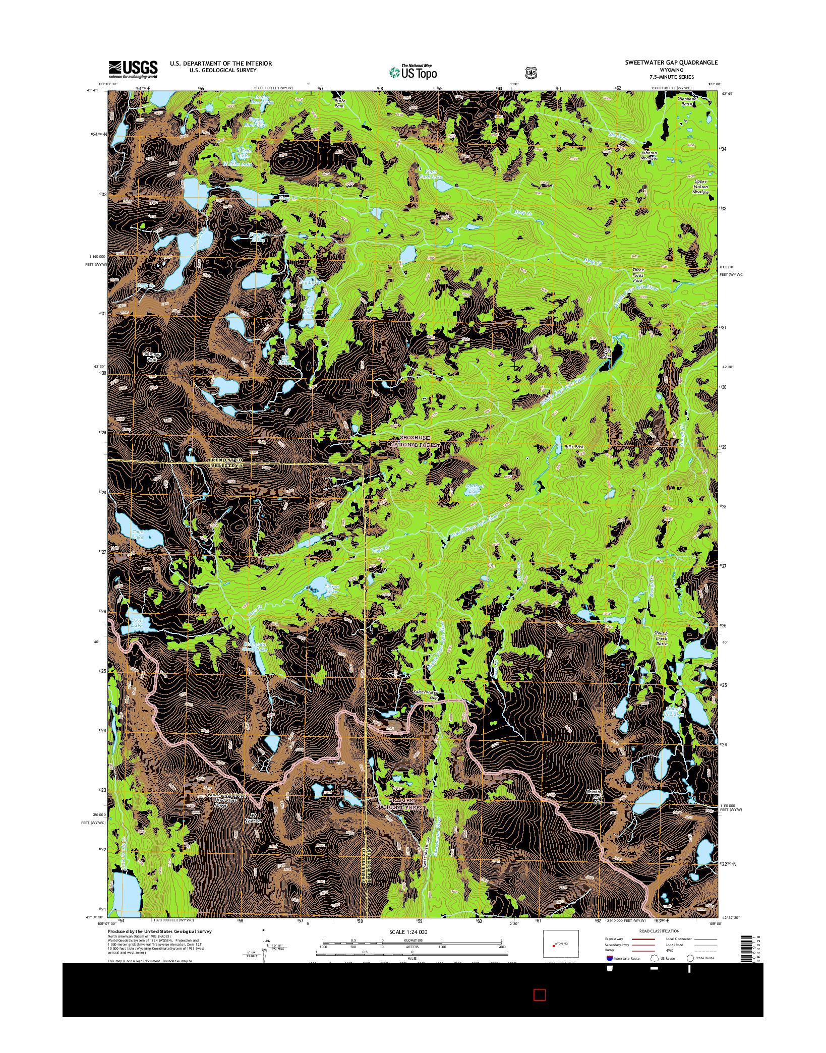 USGS US TOPO 7.5-MINUTE MAP FOR SWEETWATER GAP, WY 2015