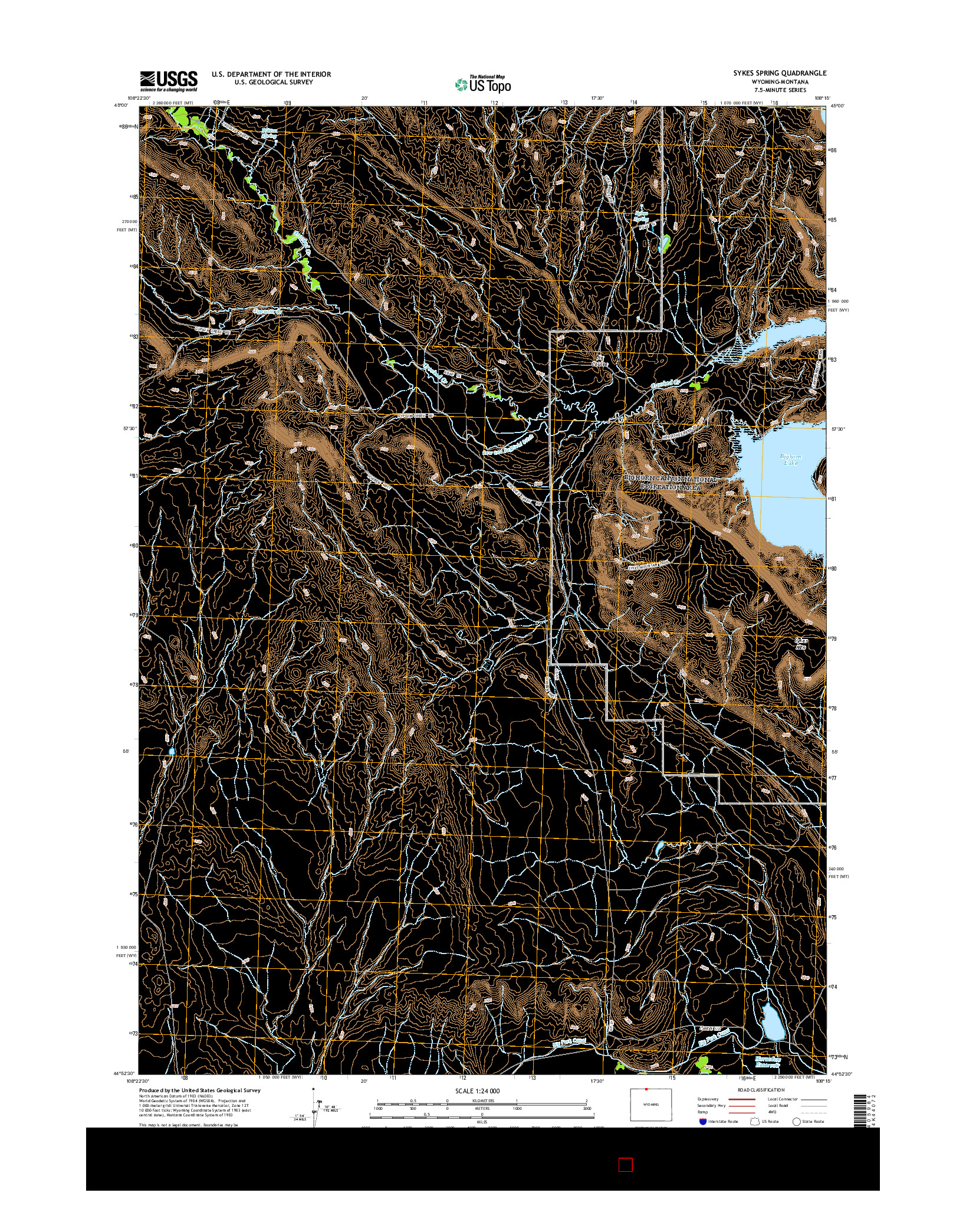 USGS US TOPO 7.5-MINUTE MAP FOR SYKES SPRING, WY-MT 2015