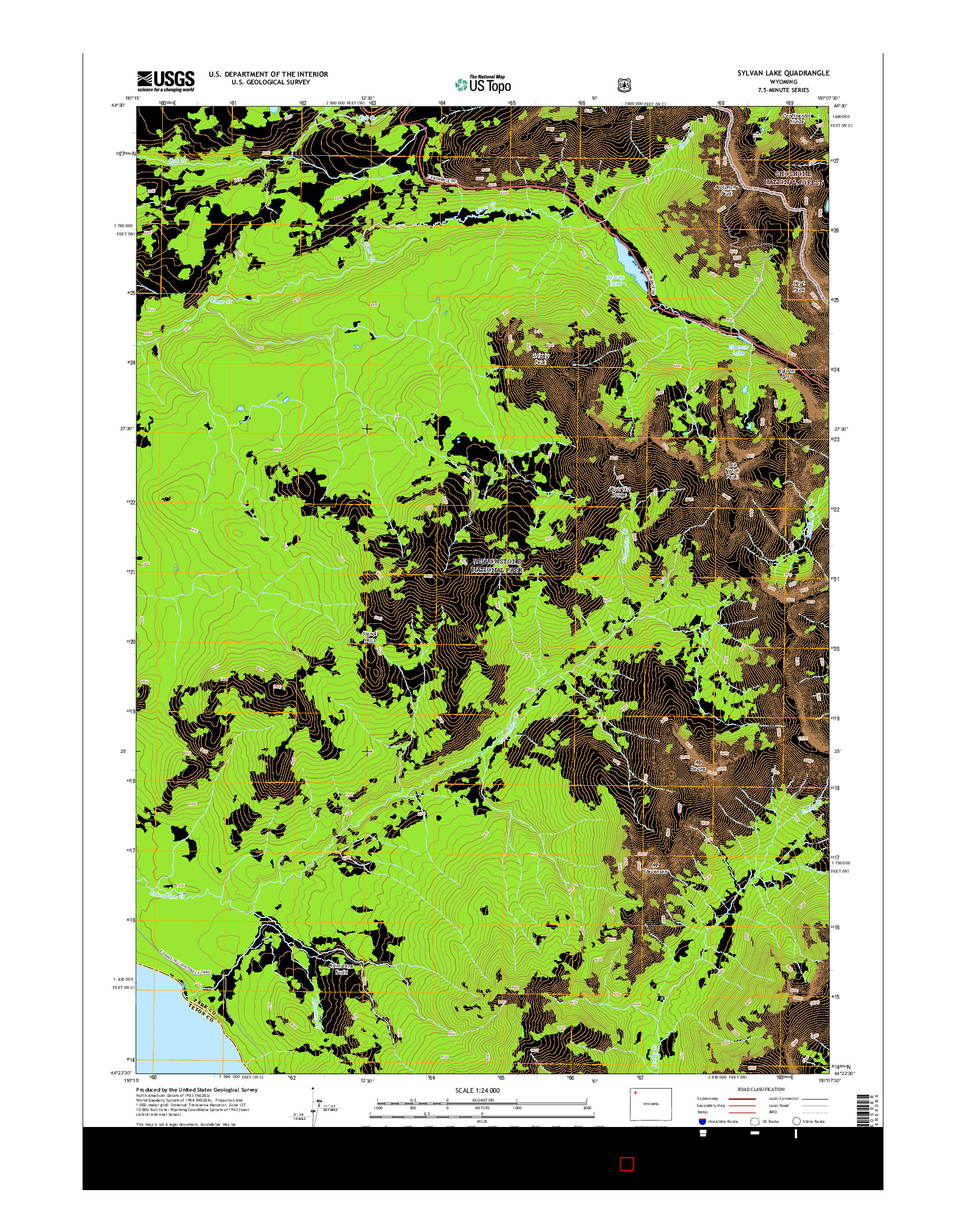 USGS US TOPO 7.5-MINUTE MAP FOR SYLVAN LAKE, WY 2015