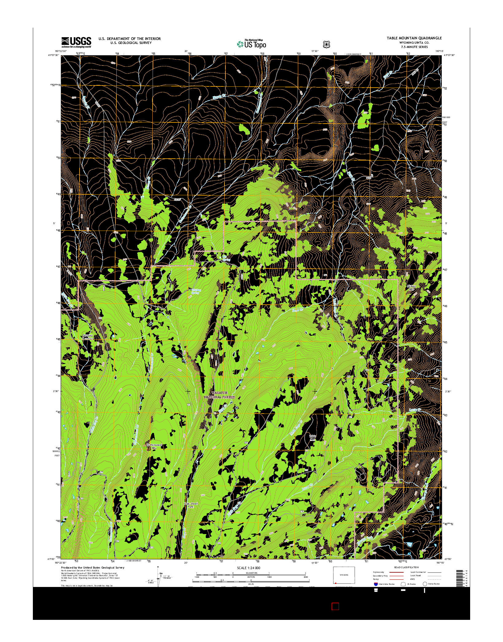 USGS US TOPO 7.5-MINUTE MAP FOR TABLE MOUNTAIN, WY 2015