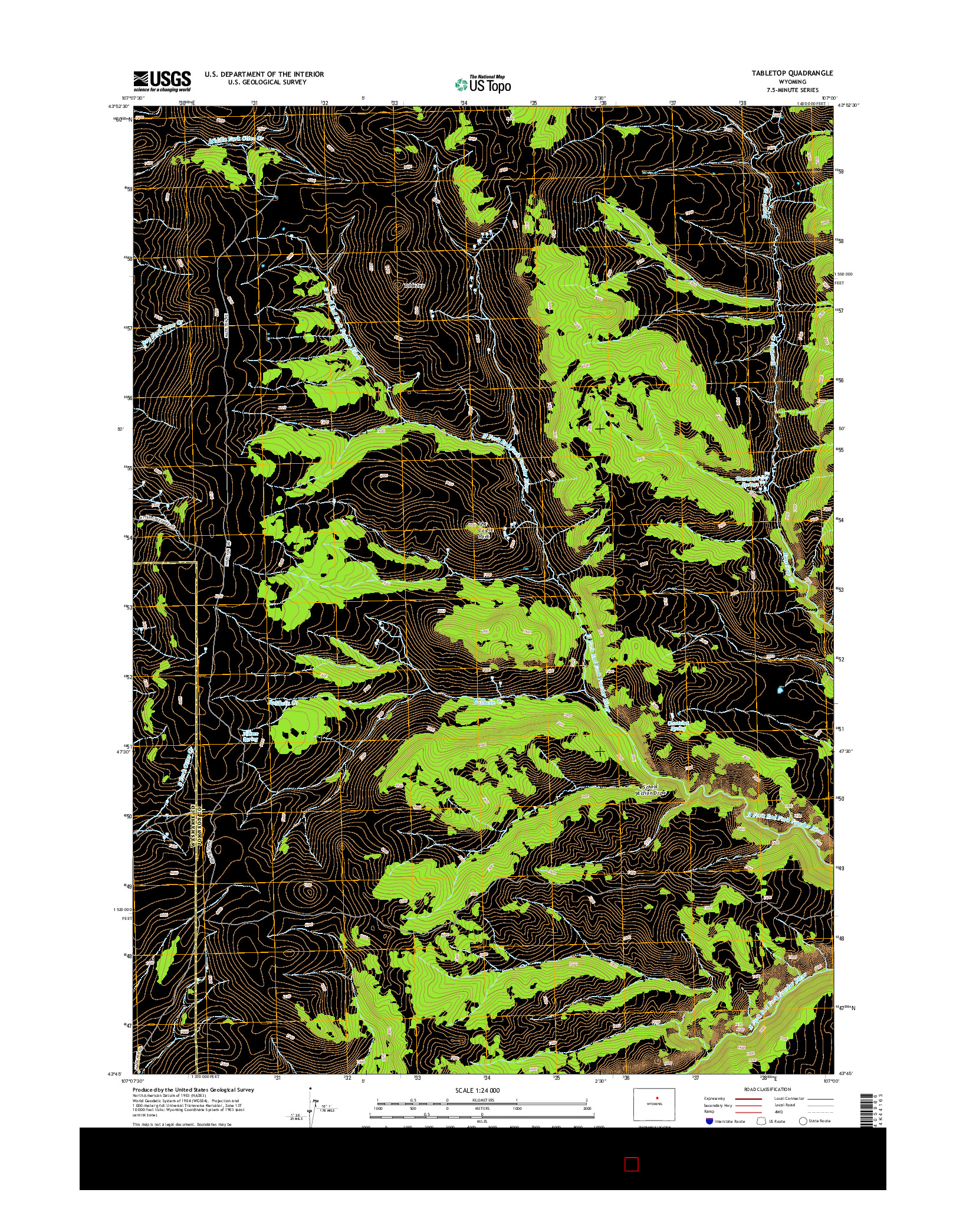 USGS US TOPO 7.5-MINUTE MAP FOR TABLETOP, WY 2015