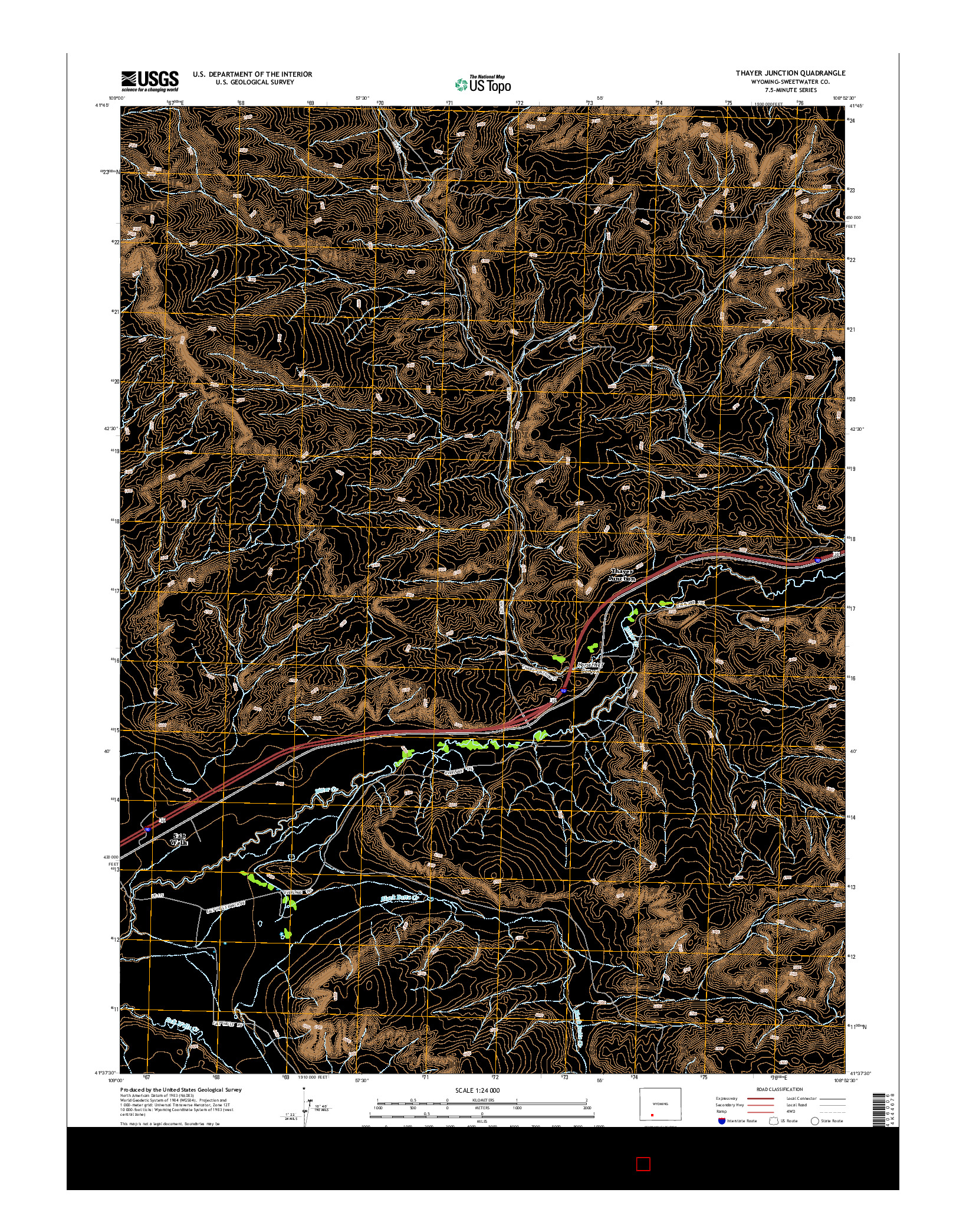USGS US TOPO 7.5-MINUTE MAP FOR THAYER JUNCTION, WY 2015