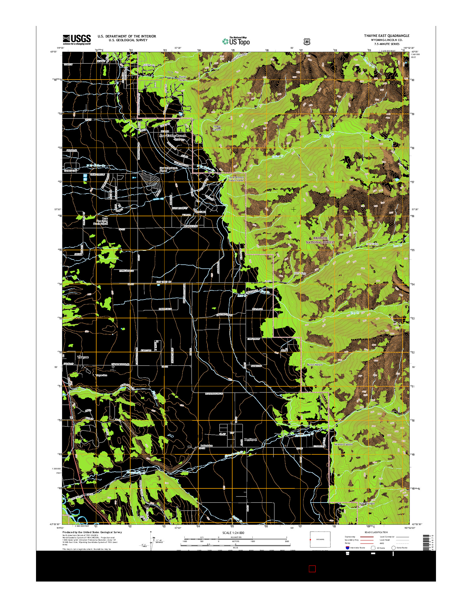 USGS US TOPO 7.5-MINUTE MAP FOR THAYNE EAST, WY 2015