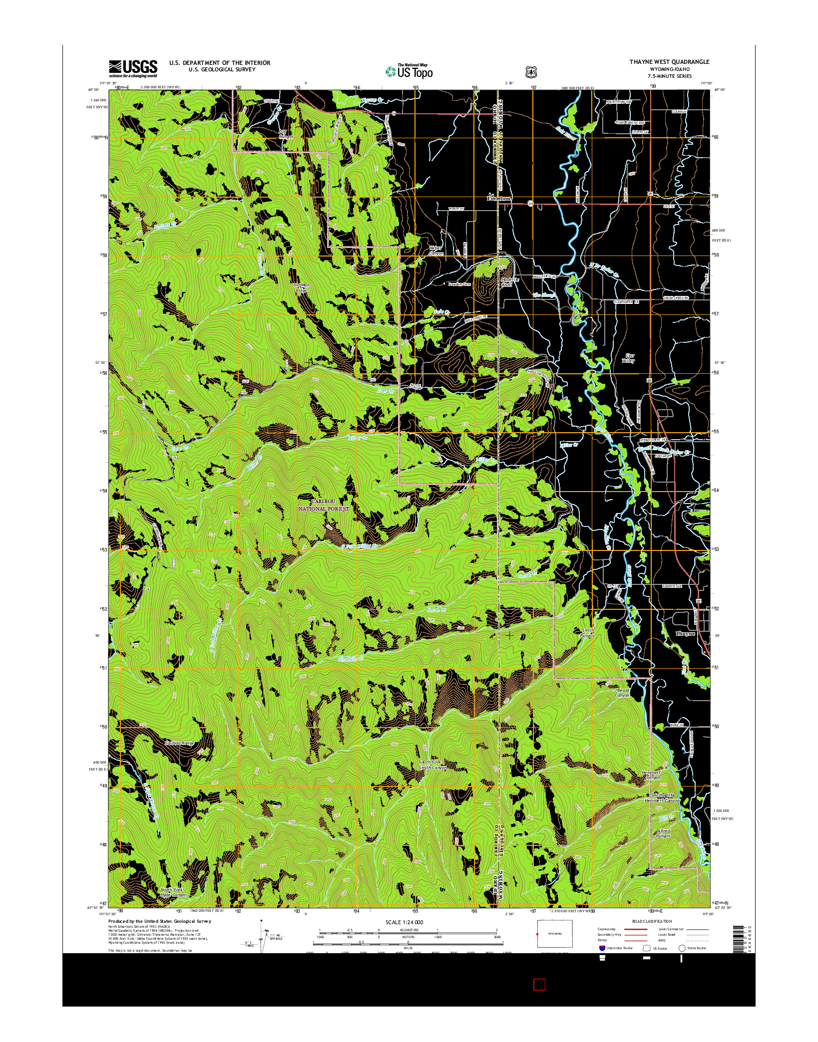 USGS US TOPO 7.5-MINUTE MAP FOR THAYNE WEST, WY-ID 2015
