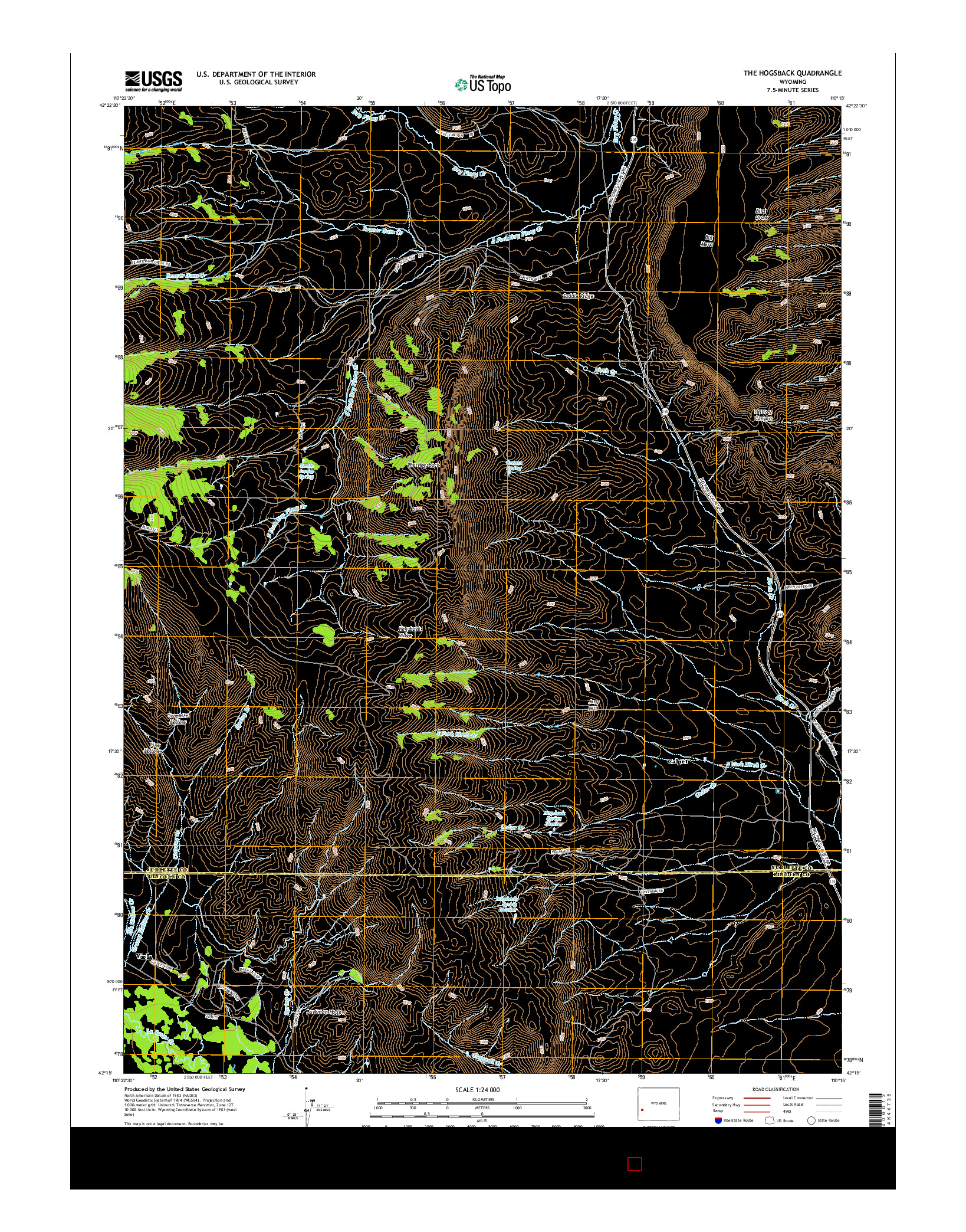 USGS US TOPO 7.5-MINUTE MAP FOR THE HOGSBACK, WY 2015