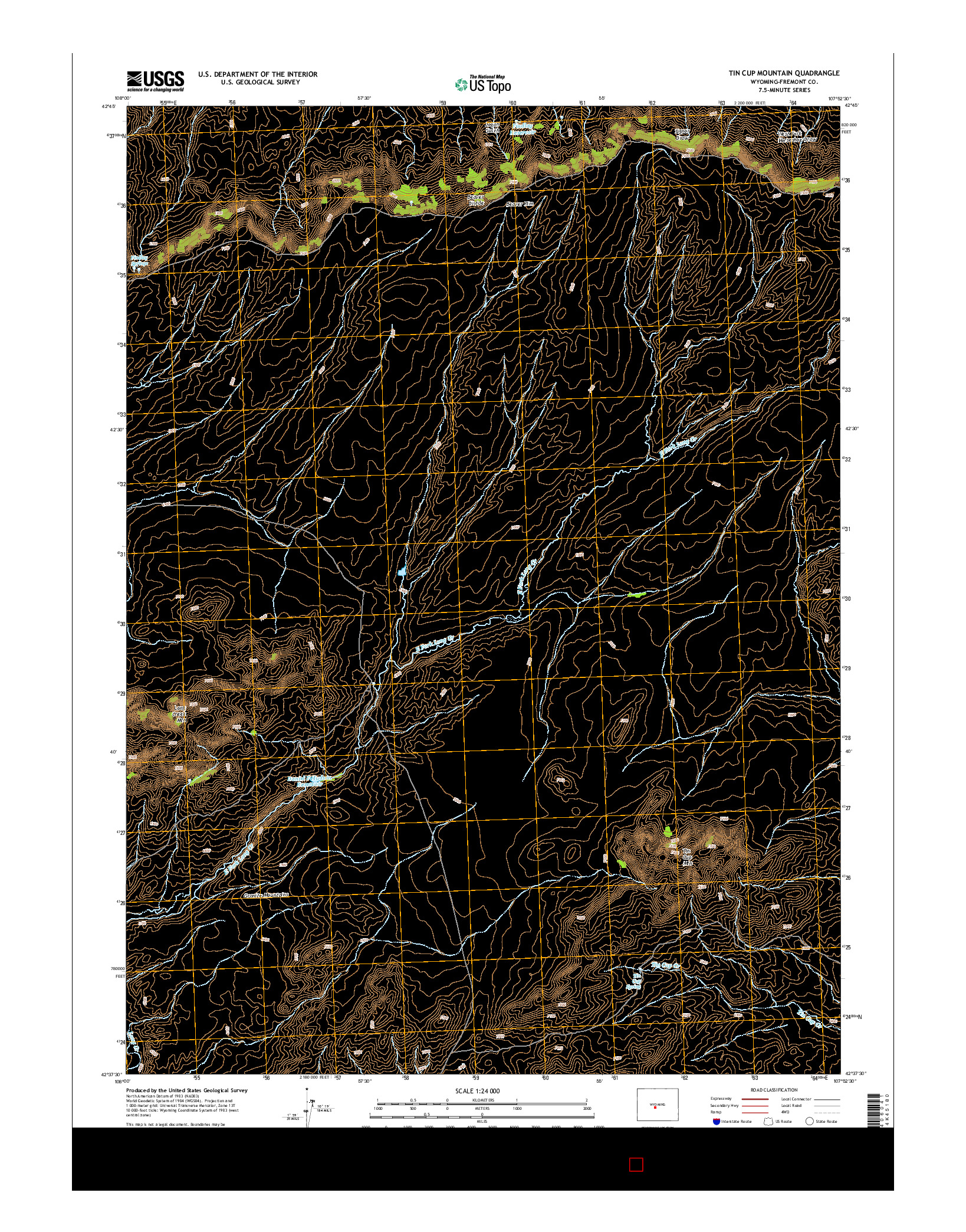 USGS US TOPO 7.5-MINUTE MAP FOR TIN CUP MOUNTAIN, WY 2015