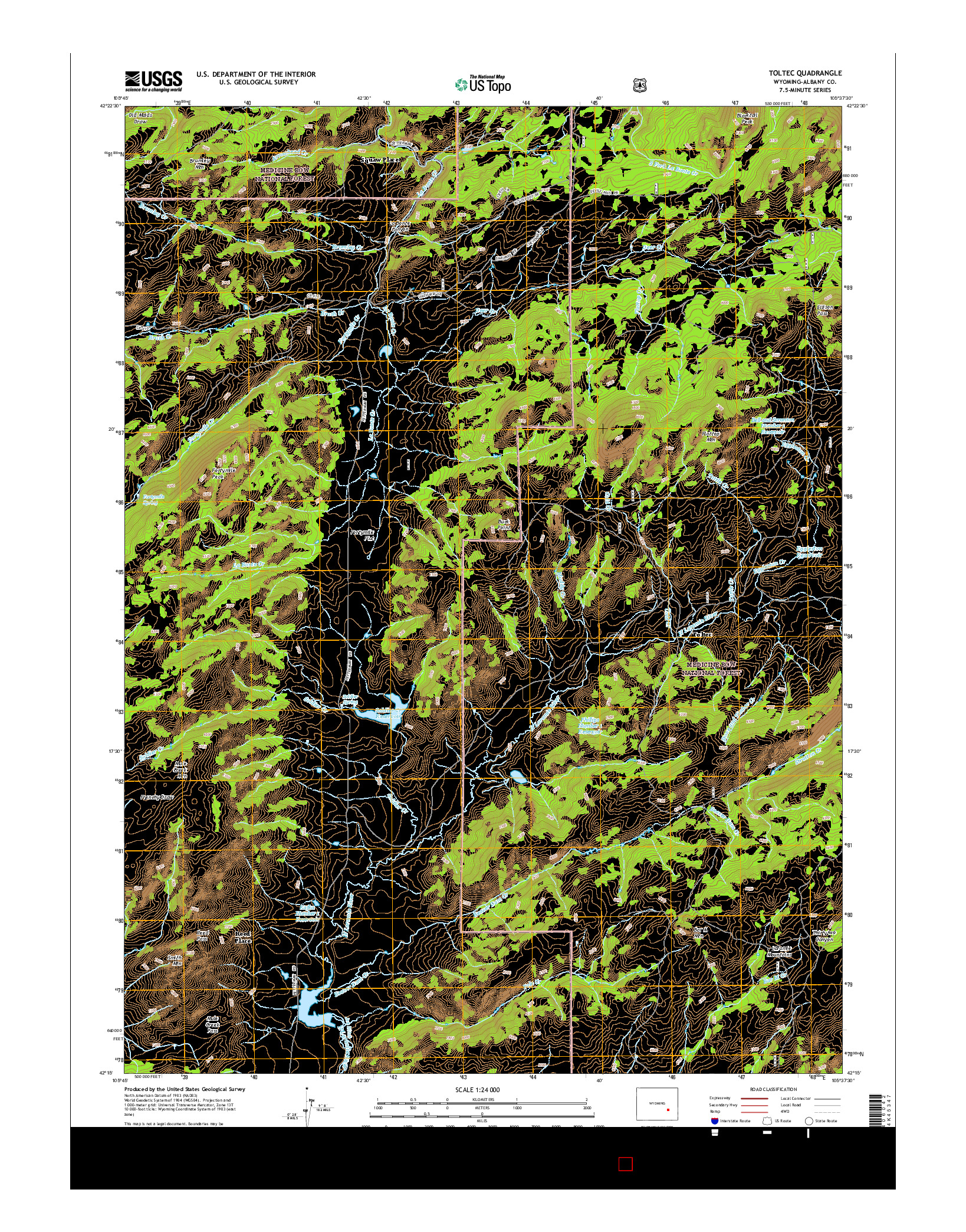USGS US TOPO 7.5-MINUTE MAP FOR TOLTEC, WY 2015