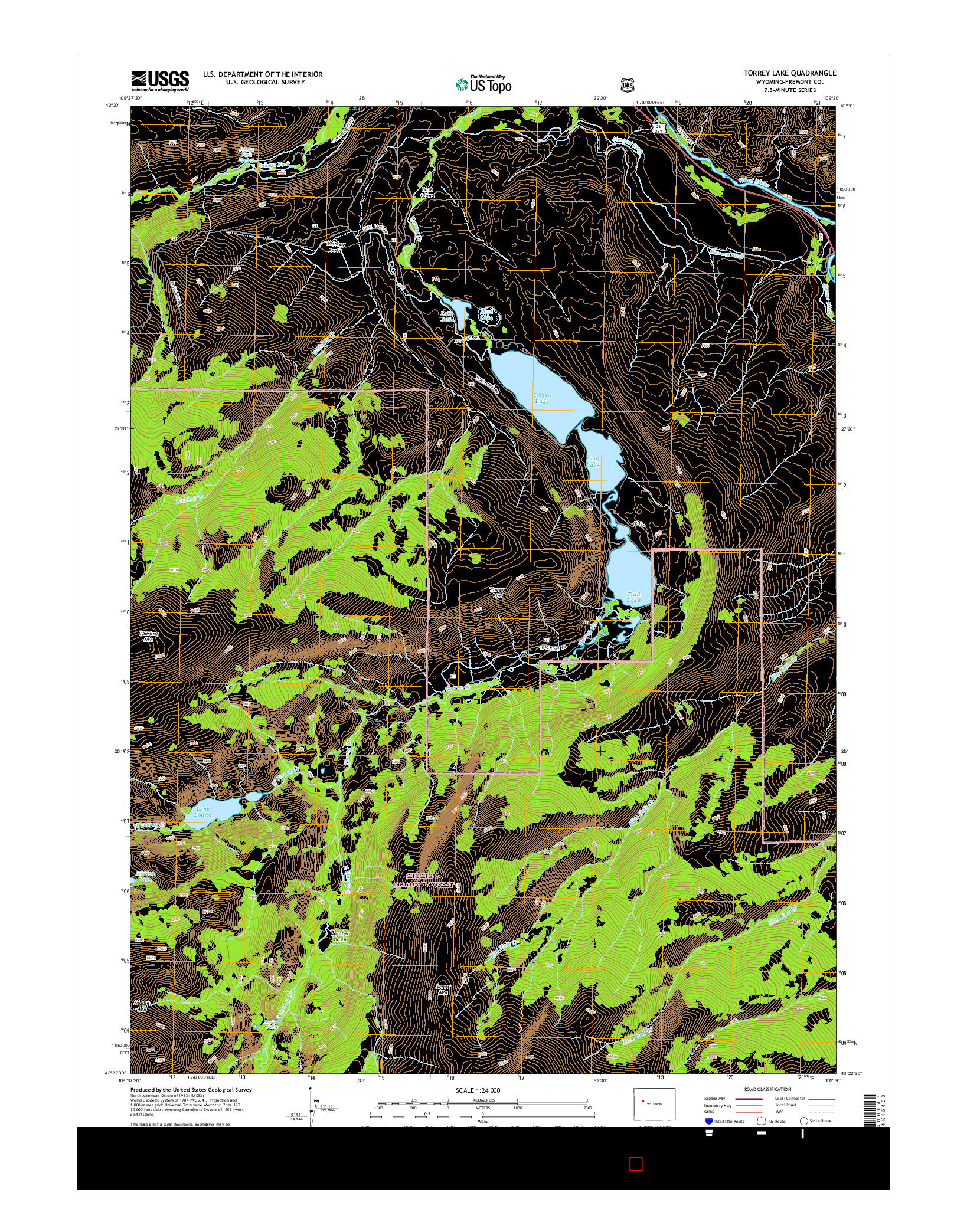 USGS US TOPO 7.5-MINUTE MAP FOR TORREY LAKE, WY 2015