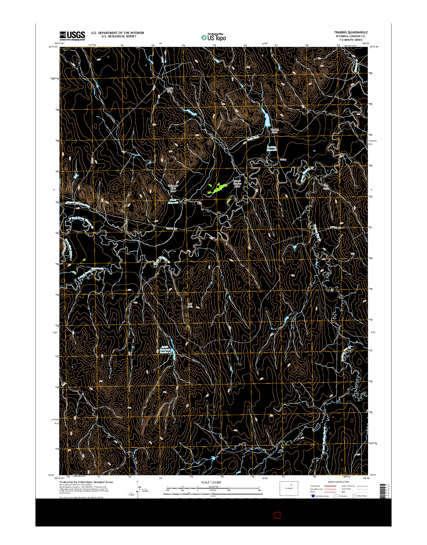 USGS US TOPO 7.5-MINUTE MAP FOR TRABING, WY 2015
