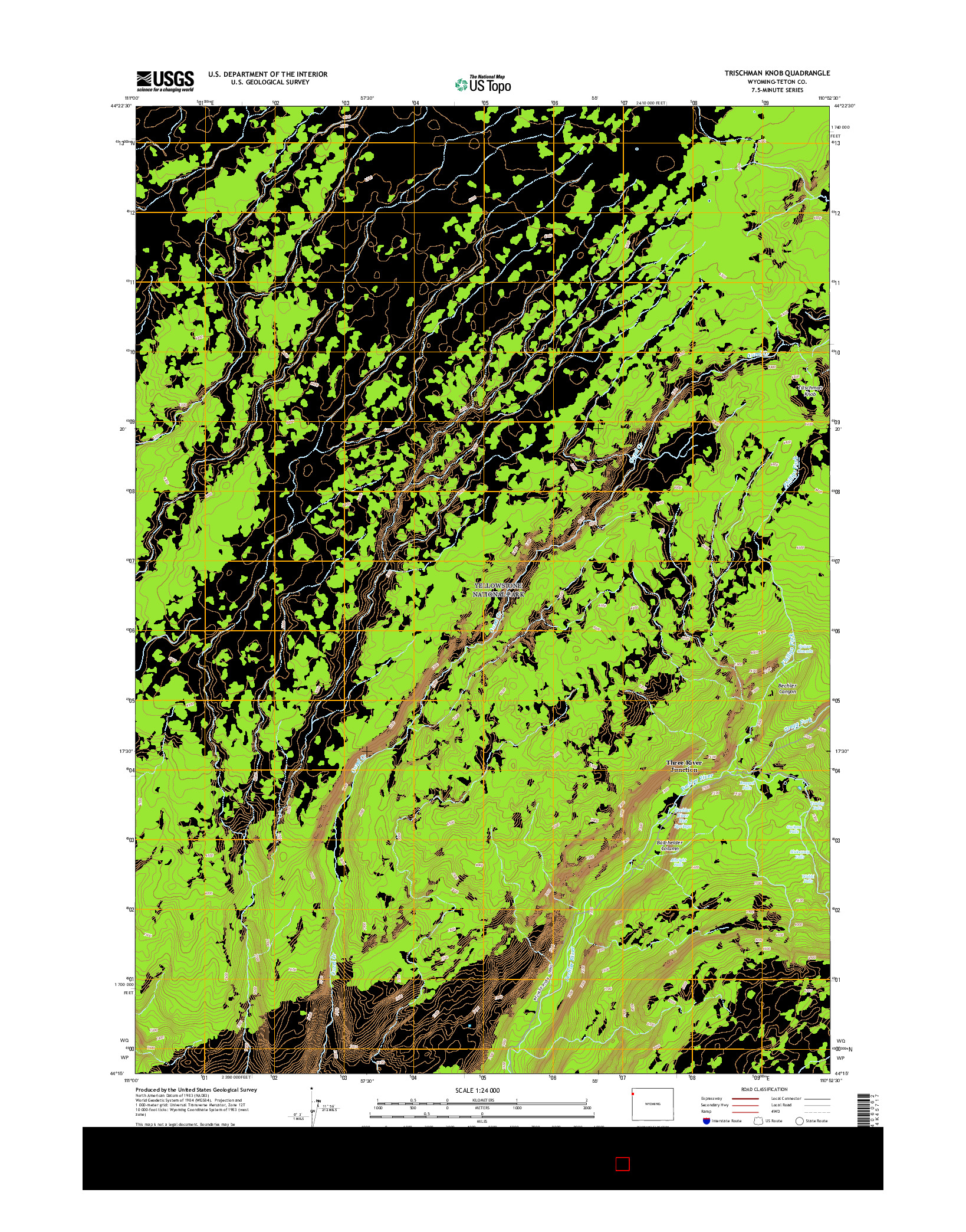 USGS US TOPO 7.5-MINUTE MAP FOR TRISCHMAN KNOB, WY 2015