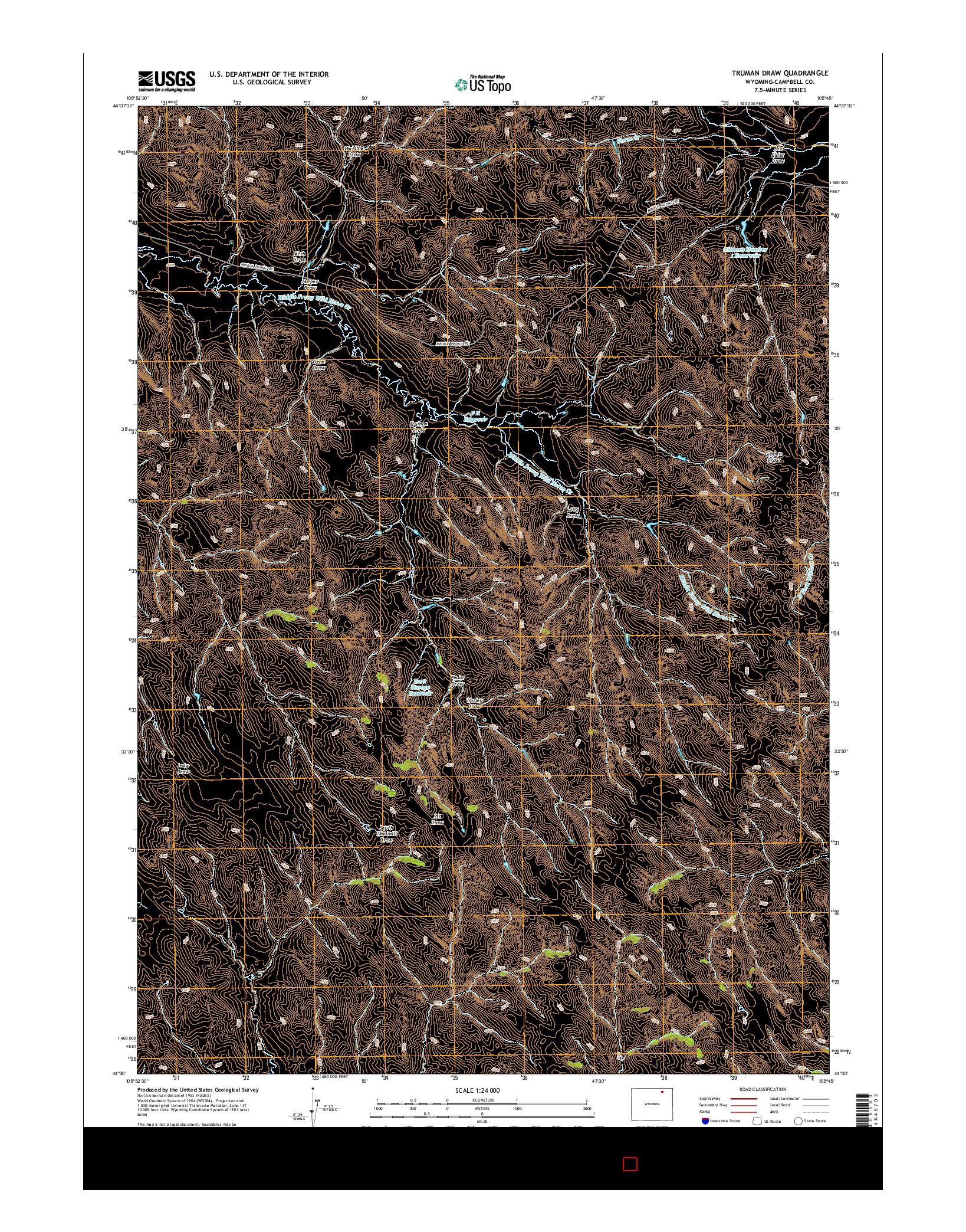 USGS US TOPO 7.5-MINUTE MAP FOR TRUMAN DRAW, WY 2015