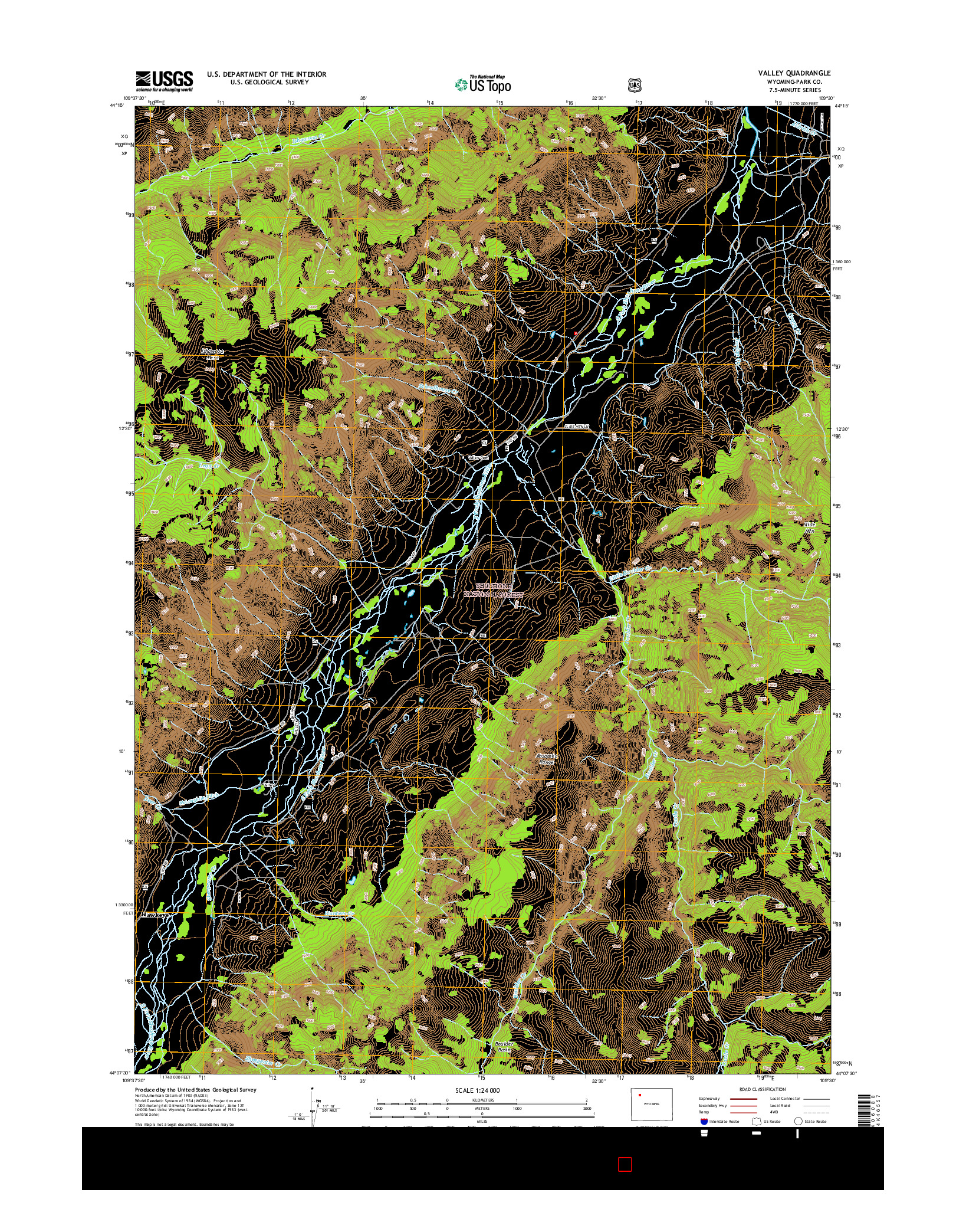 USGS US TOPO 7.5-MINUTE MAP FOR VALLEY, WY 2015
