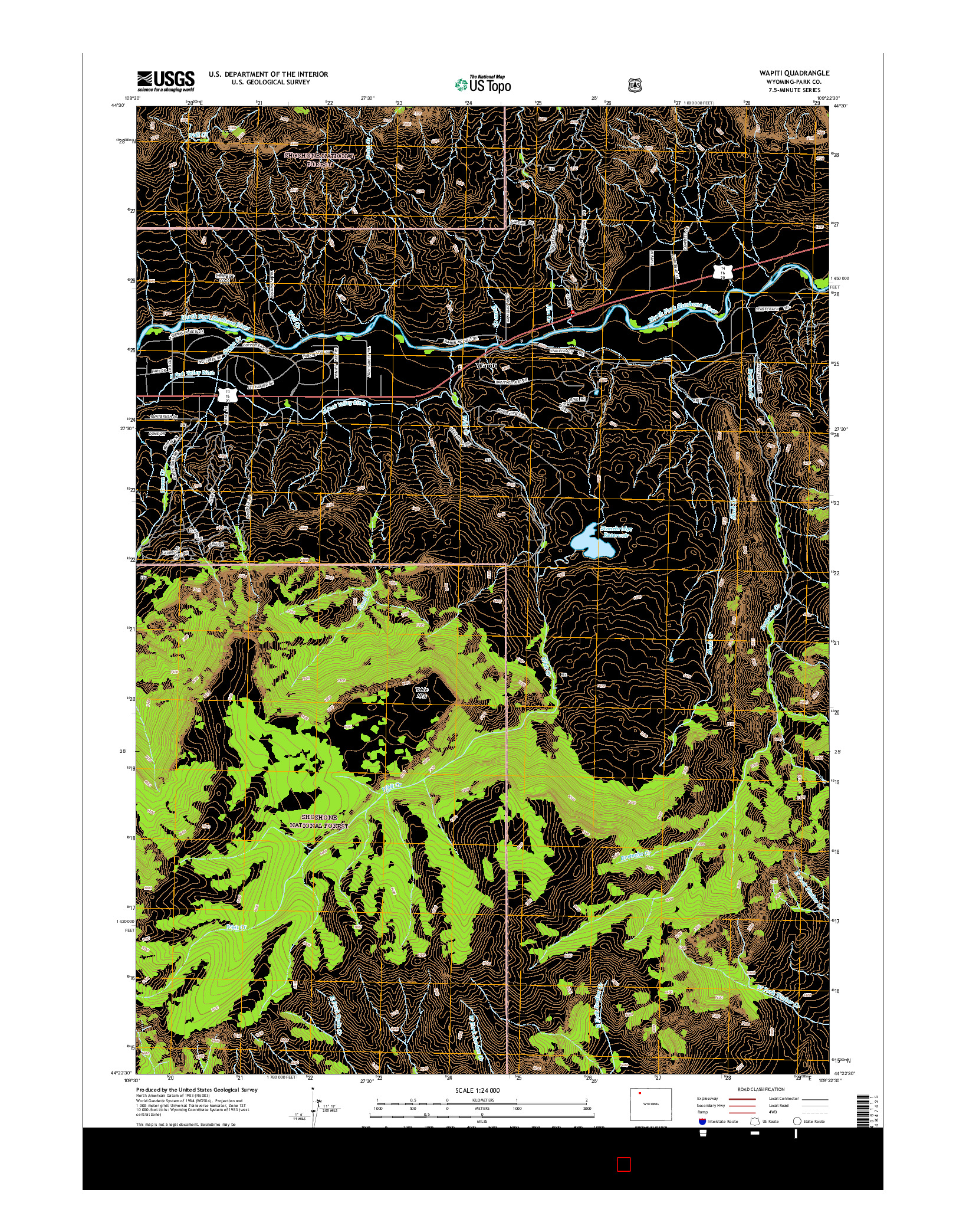 USGS US TOPO 7.5-MINUTE MAP FOR WAPITI, WY 2015