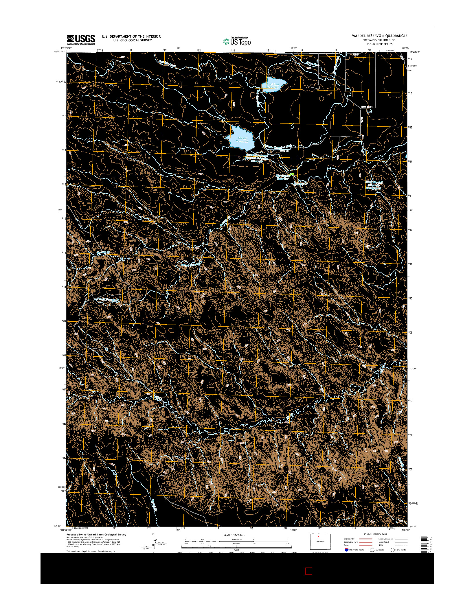 USGS US TOPO 7.5-MINUTE MAP FOR WARDEL RESERVOIR, WY 2015