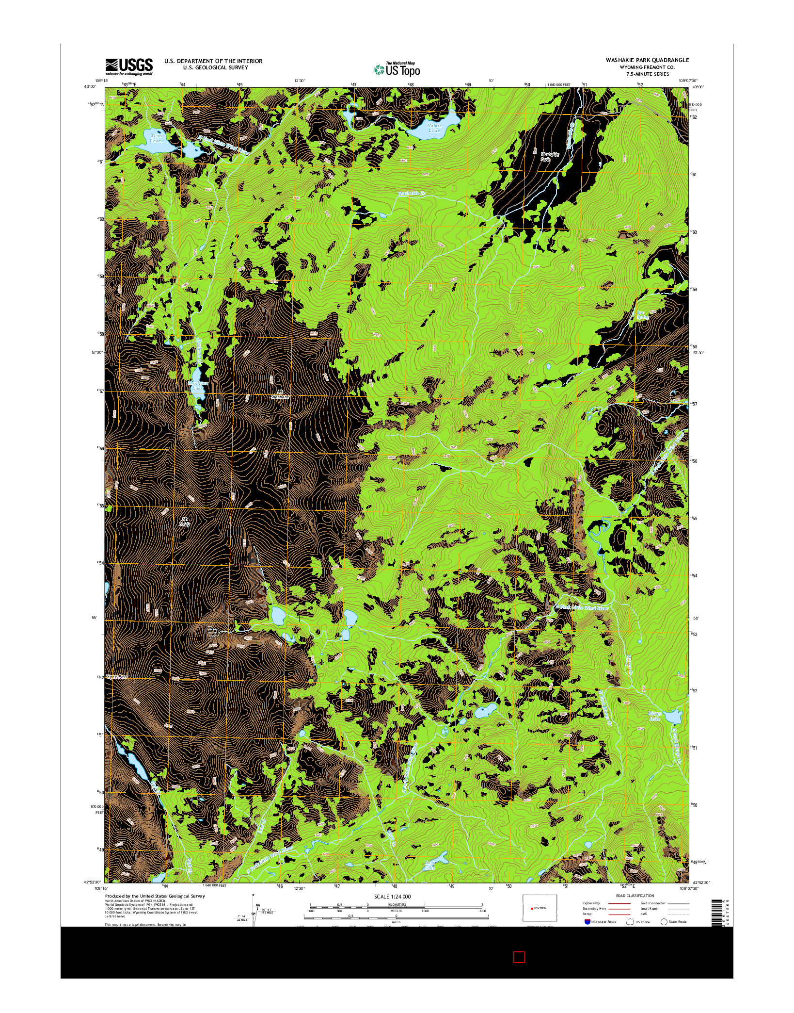 USGS US TOPO 7.5-MINUTE MAP FOR WASHAKIE PARK, WY 2015