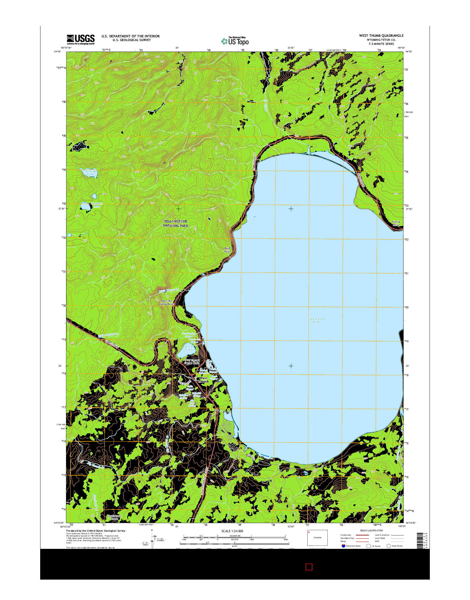 USGS US TOPO 7.5-MINUTE MAP FOR WEST THUMB, WY 2015